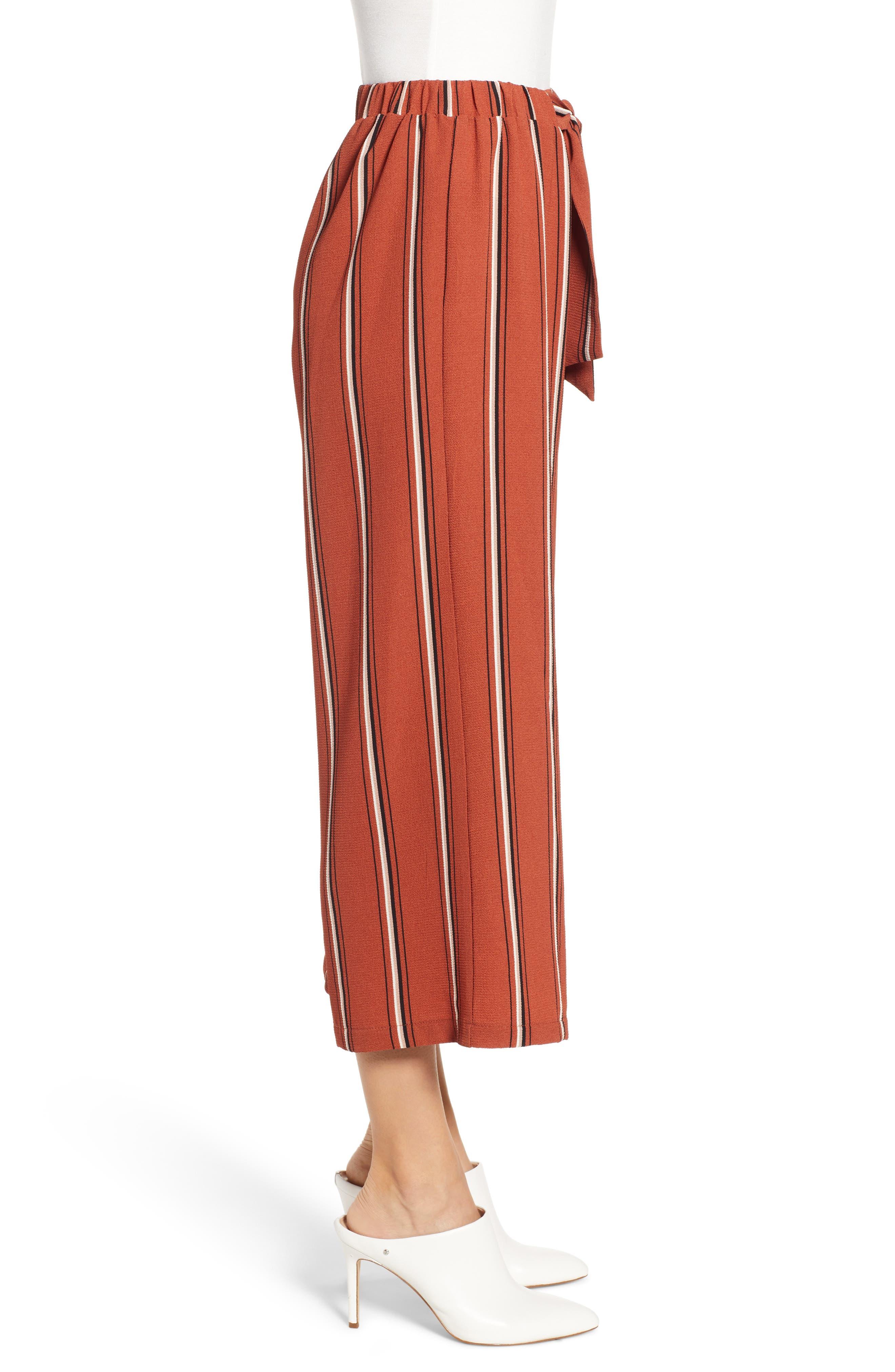 Tie Waist Stripe Wide Leg Crop Pants,                             Alternate thumbnail 3, color,                             RUST
