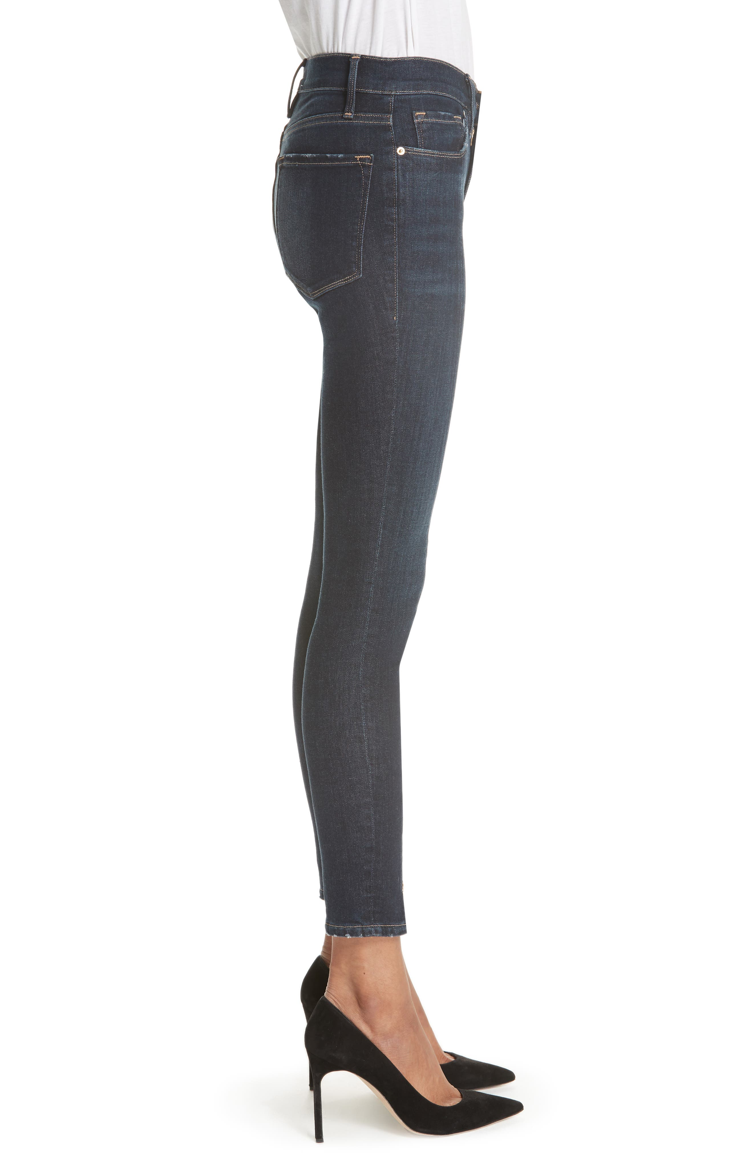 Le High Curve Split Hem Skinny Jeans,                             Alternate thumbnail 3, color,                             RUFFIN