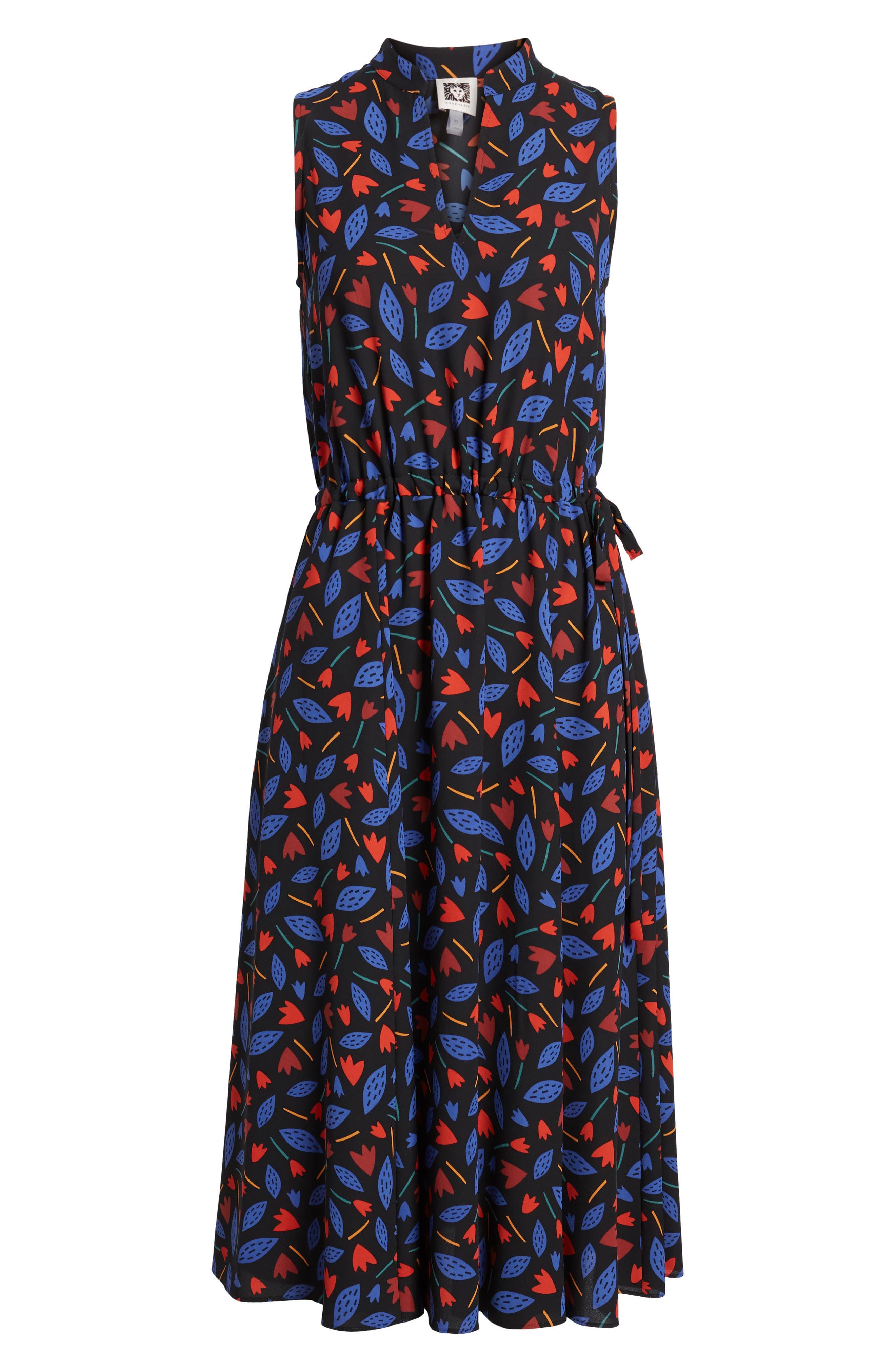 Print Drawstring Midi Dress,                             Alternate thumbnail 6, color,