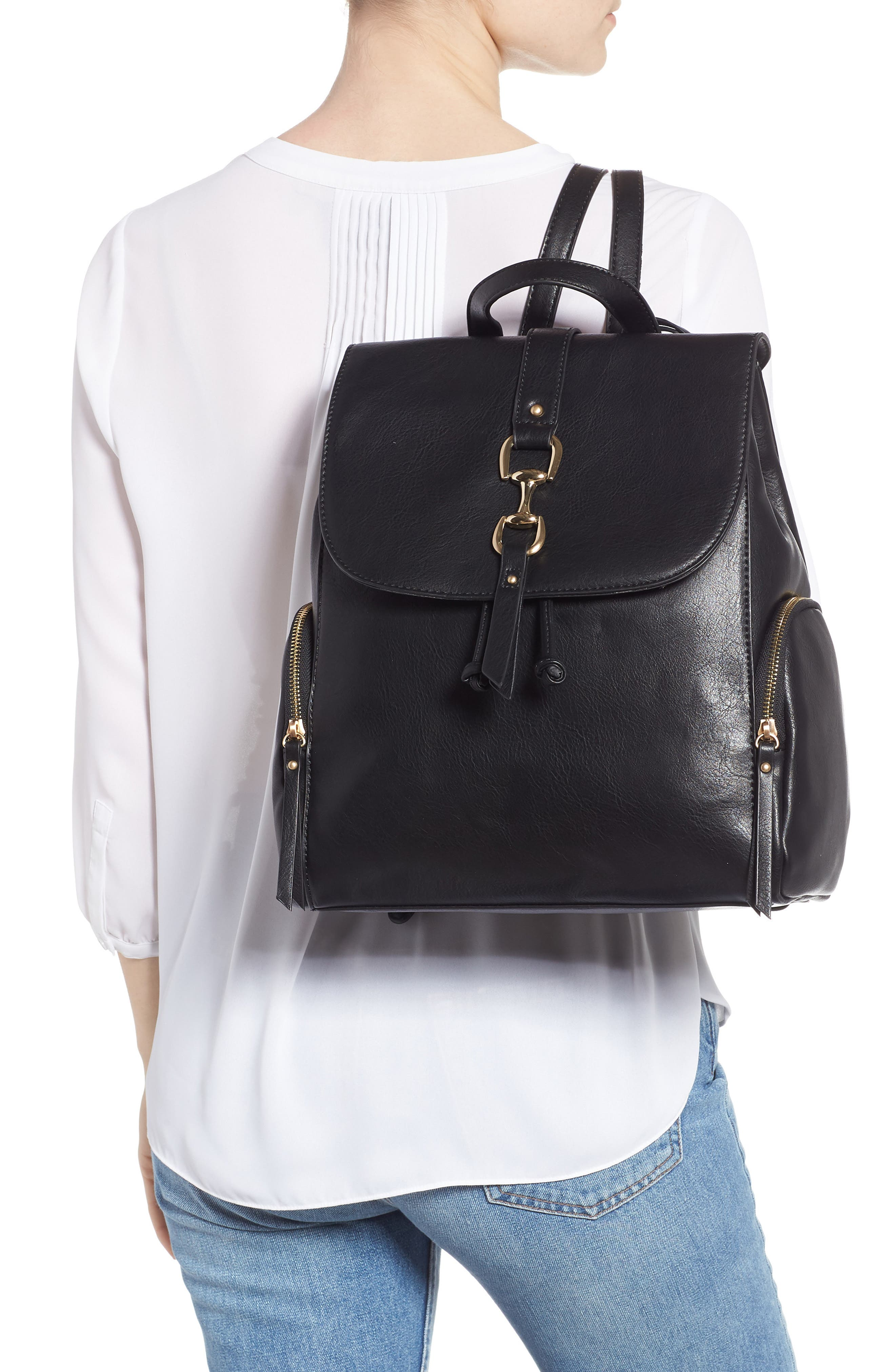 Marah Faux Leather Backpack,                             Alternate thumbnail 2, color,                             BLACK
