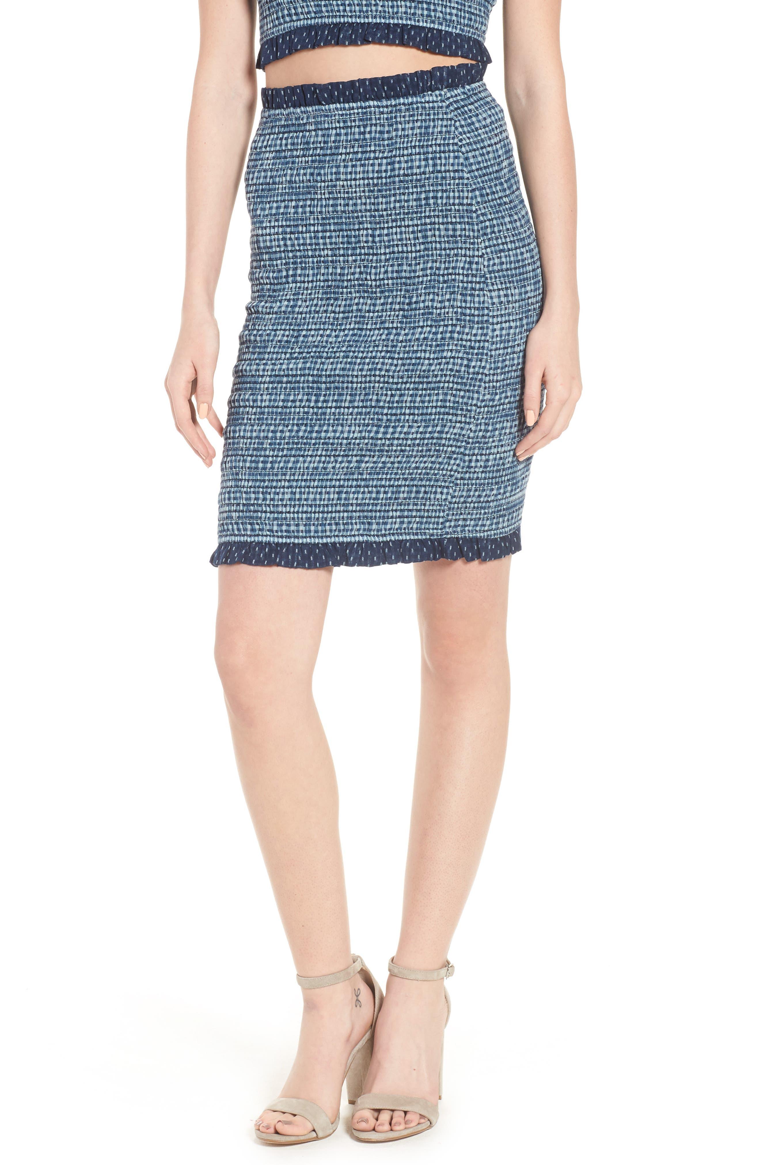 Kylie Smocked Skirt,                             Main thumbnail 1, color,                             001