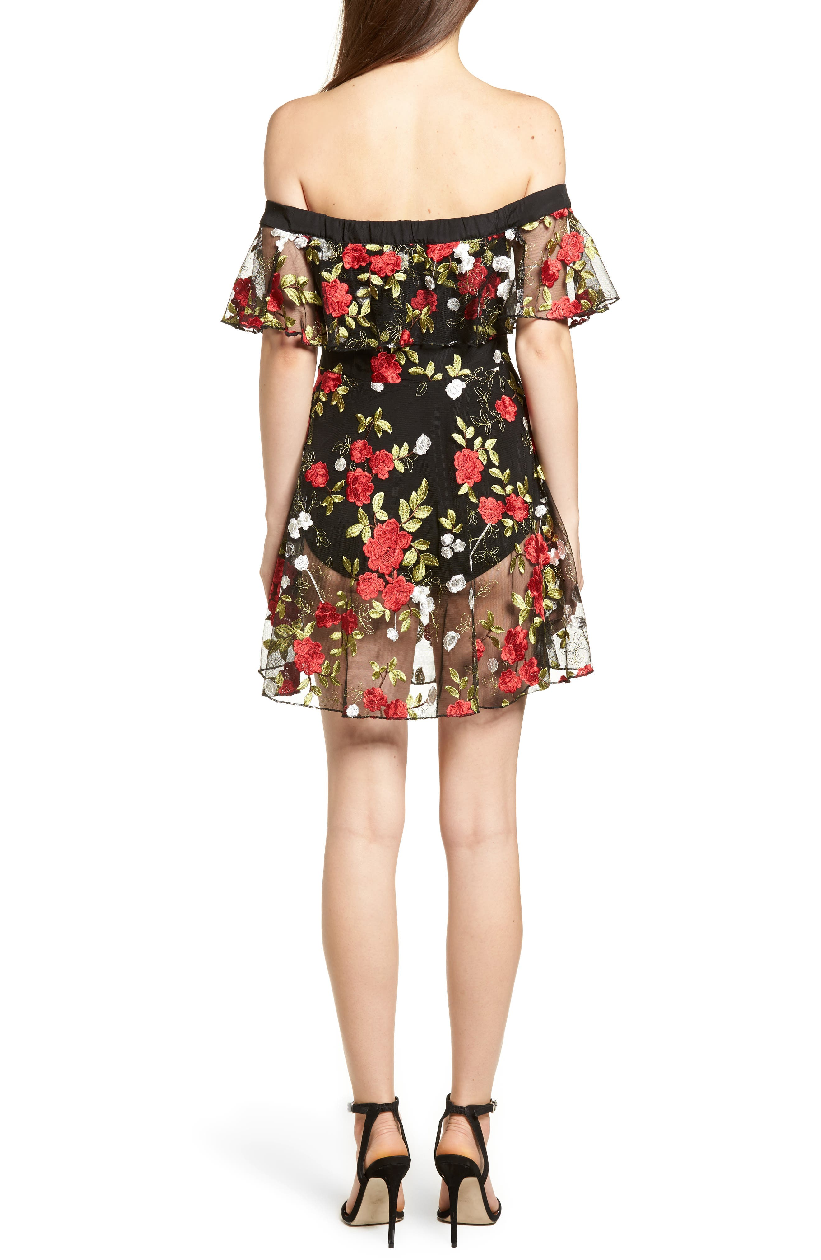 Erica Sheer Embroidered A-Line Dress,                             Alternate thumbnail 2, color,                             HALCYON