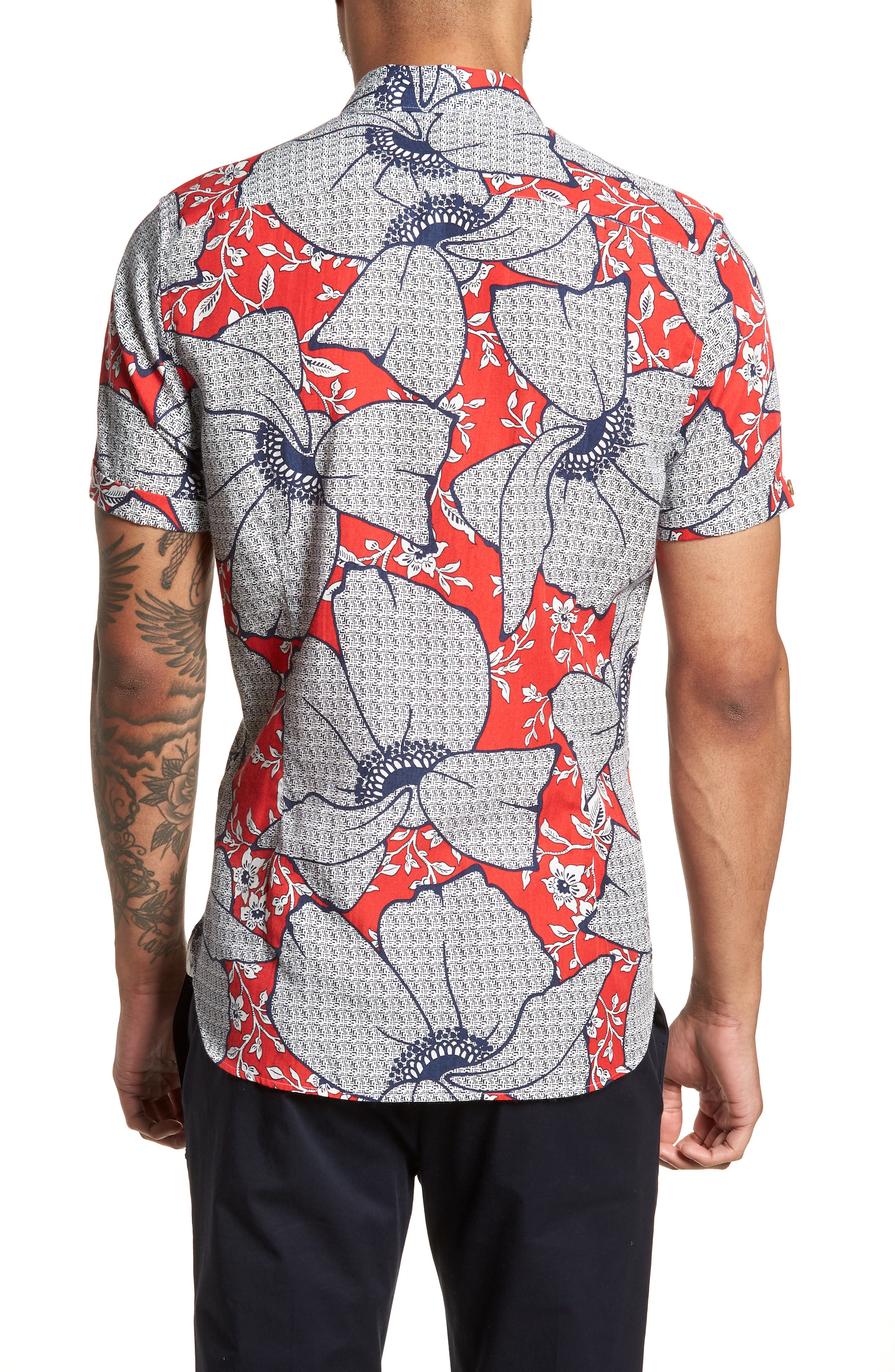 Sohot Trim Fit Floral Sport Shirt,                             Alternate thumbnail 2, color,                             RED
