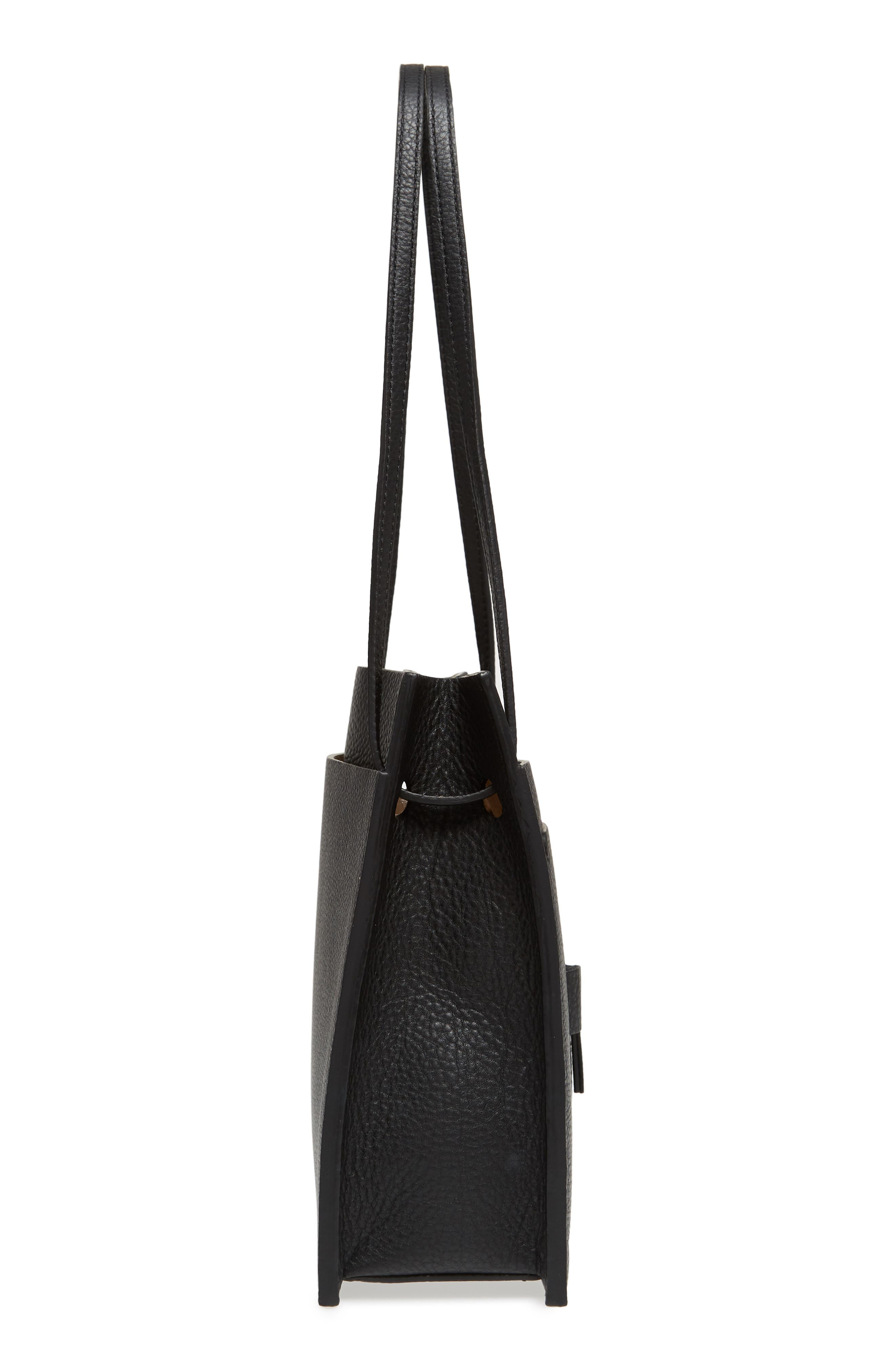 Kit Leather Convertible Shoulder Bag,                             Alternate thumbnail 6, color,                             TRUE BLACK