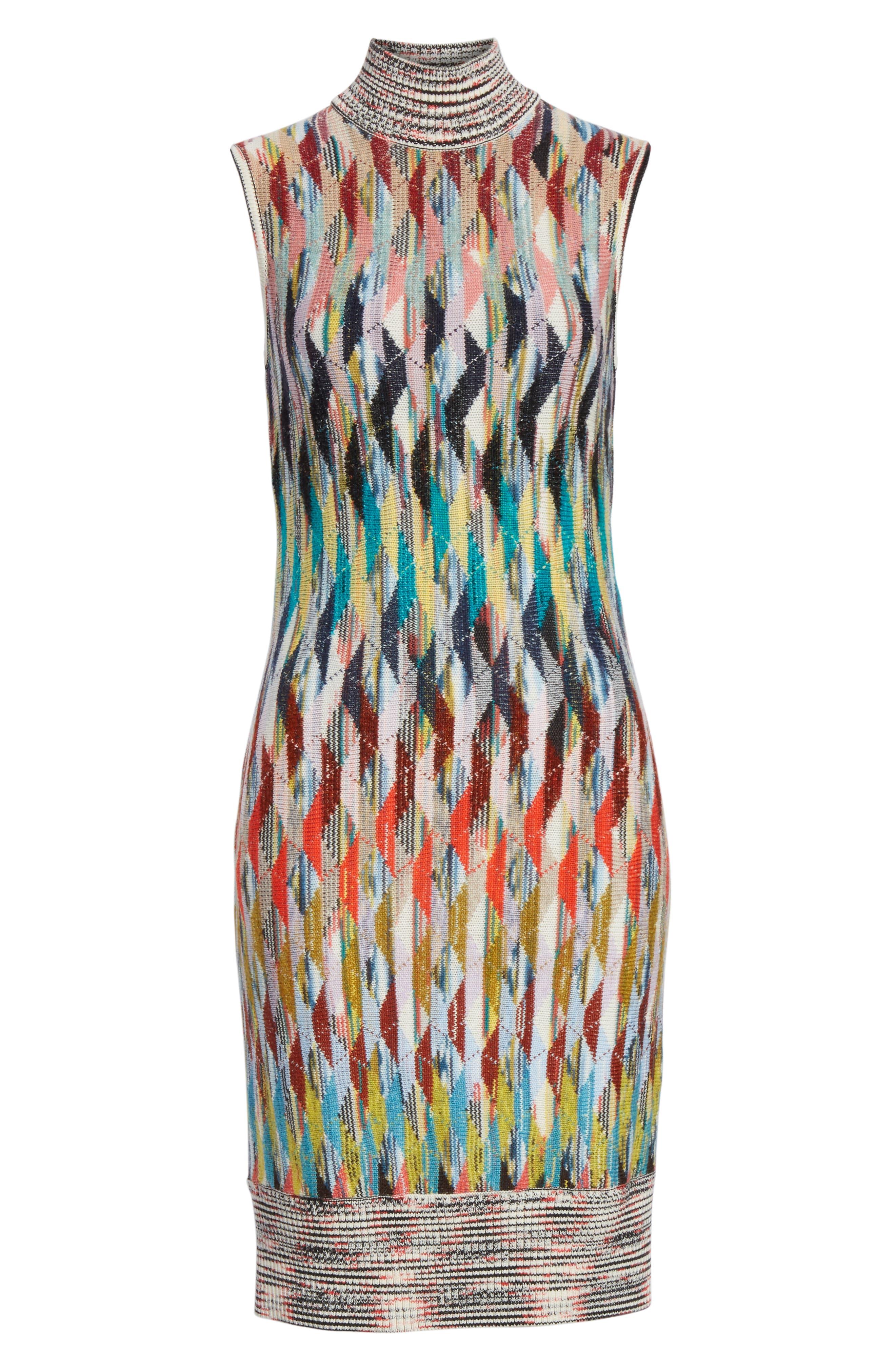 Knit Turtleneck Dress,                             Alternate thumbnail 7, color,                             MULTI