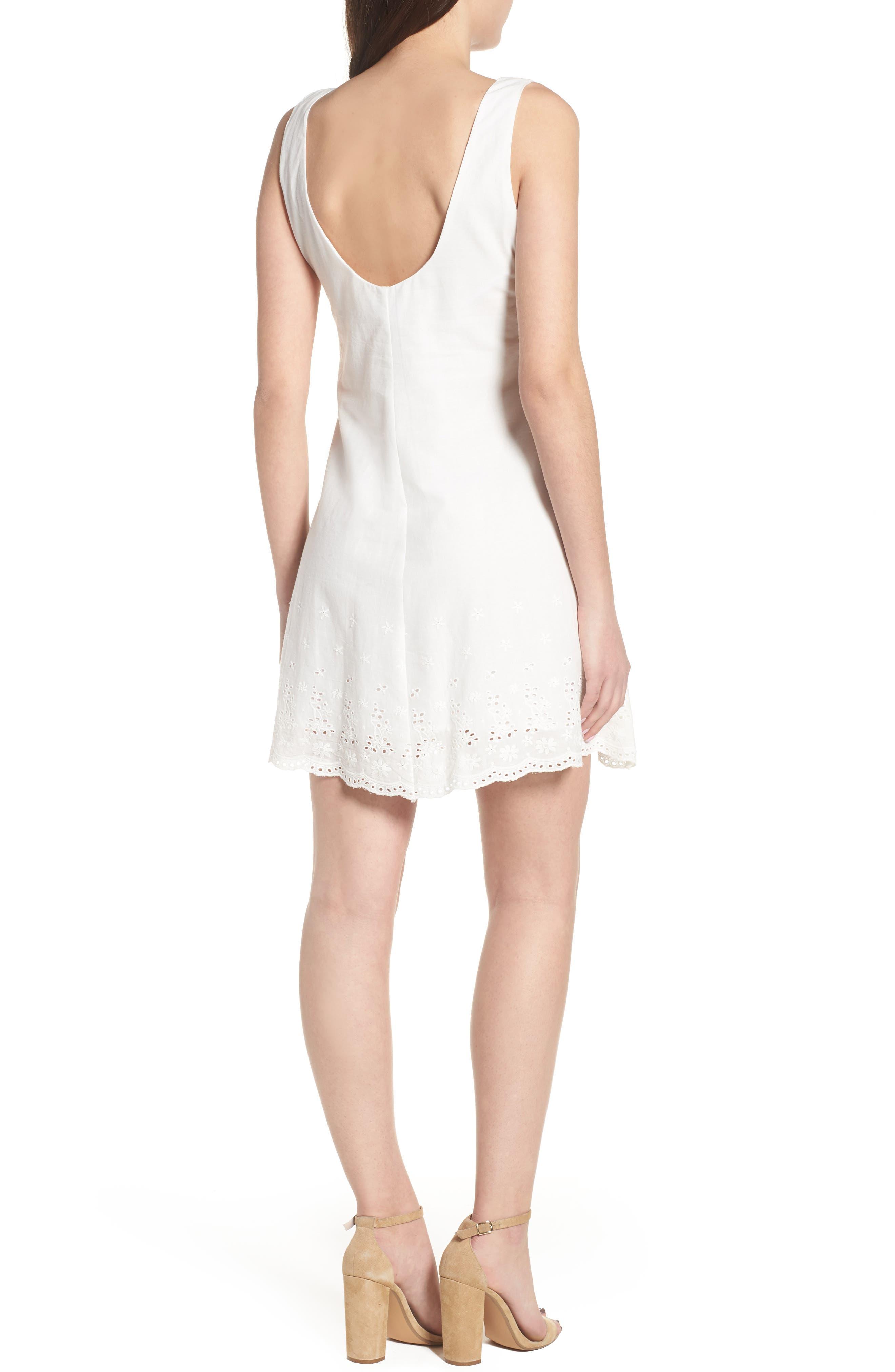 Bianco Eyelet Hem Dress,                             Alternate thumbnail 2, color,                             100