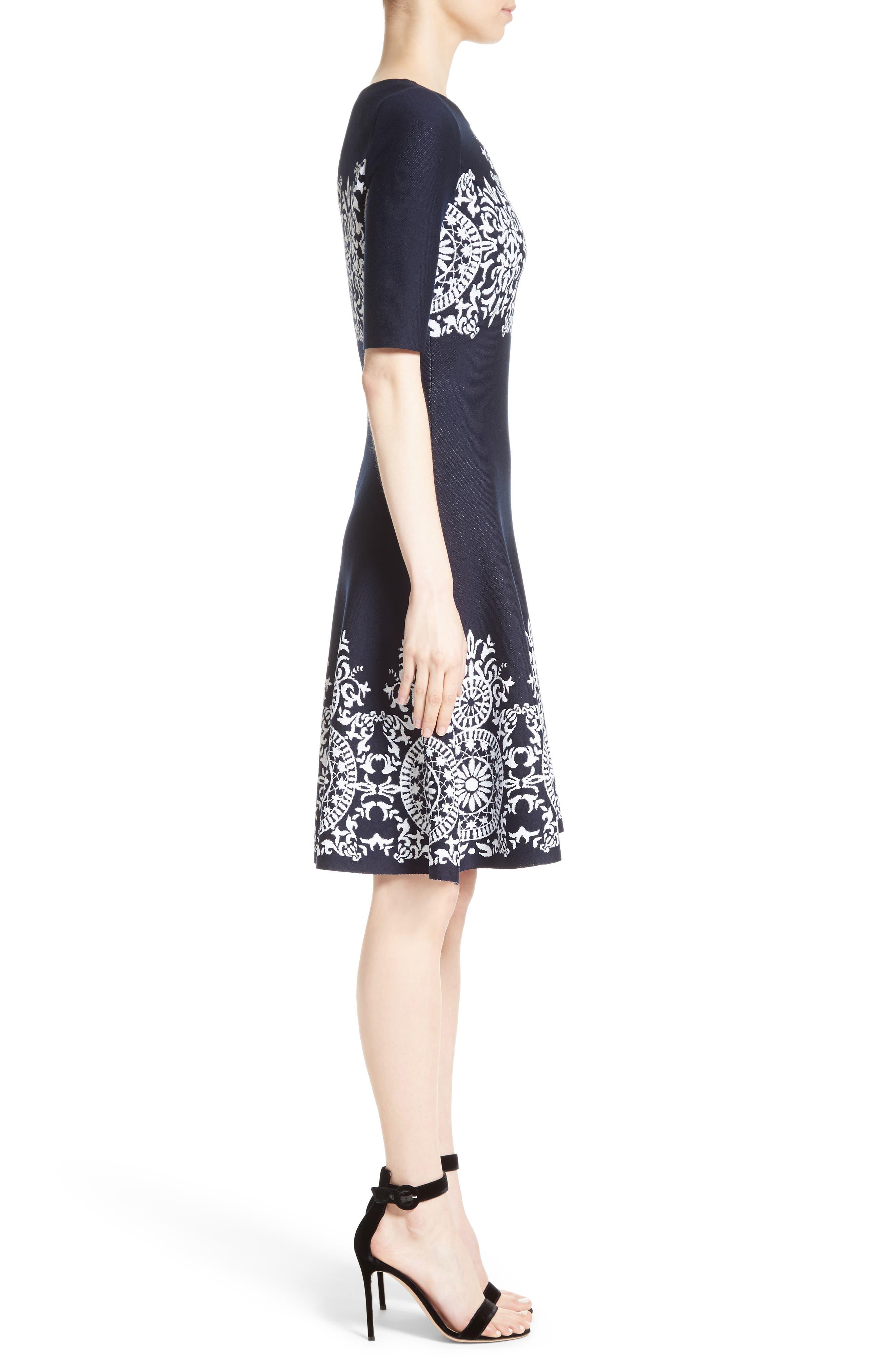 Nellore Jacquard Knit Fit & Flare Dress,                             Alternate thumbnail 3, color,                             410