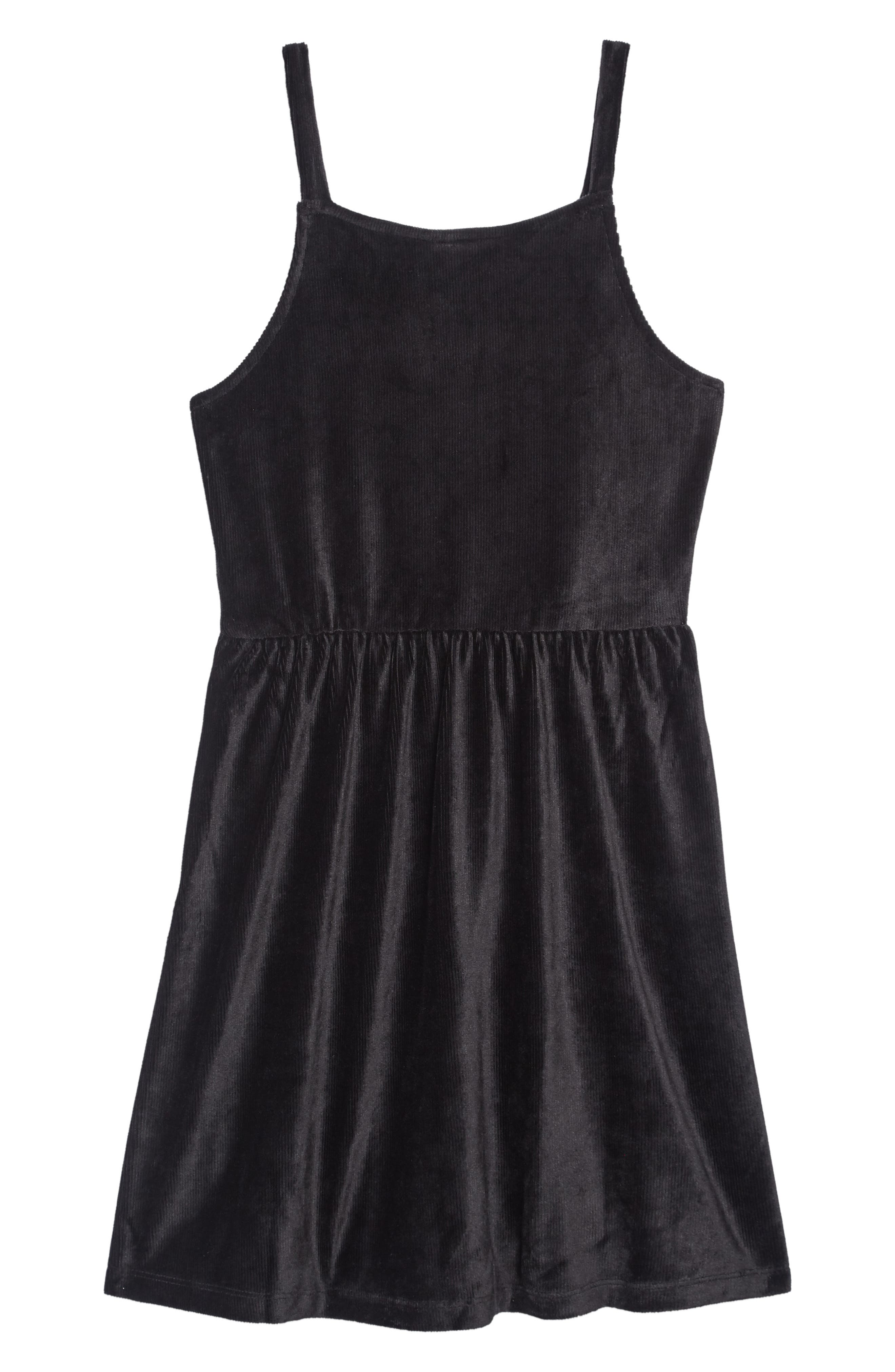 Velour Cord Dress,                             Alternate thumbnail 2, color,                             BLACK