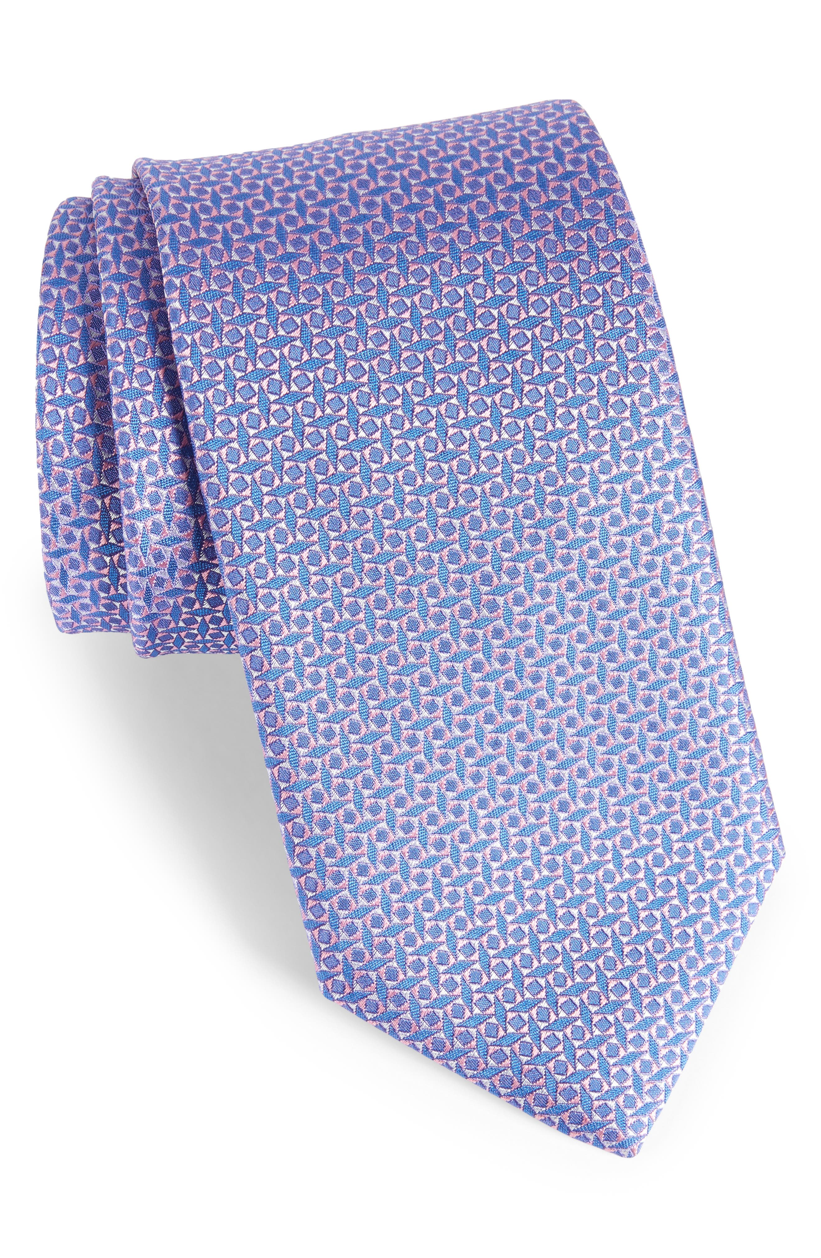 Geometric Silk Tie,                         Main,                         color, 650