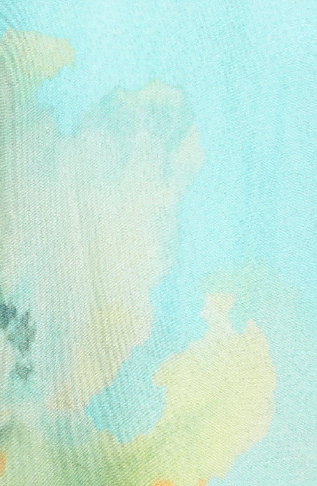 'Wild Iris' Print Modal & Silk Scarf,                             Alternate thumbnail 6, color,