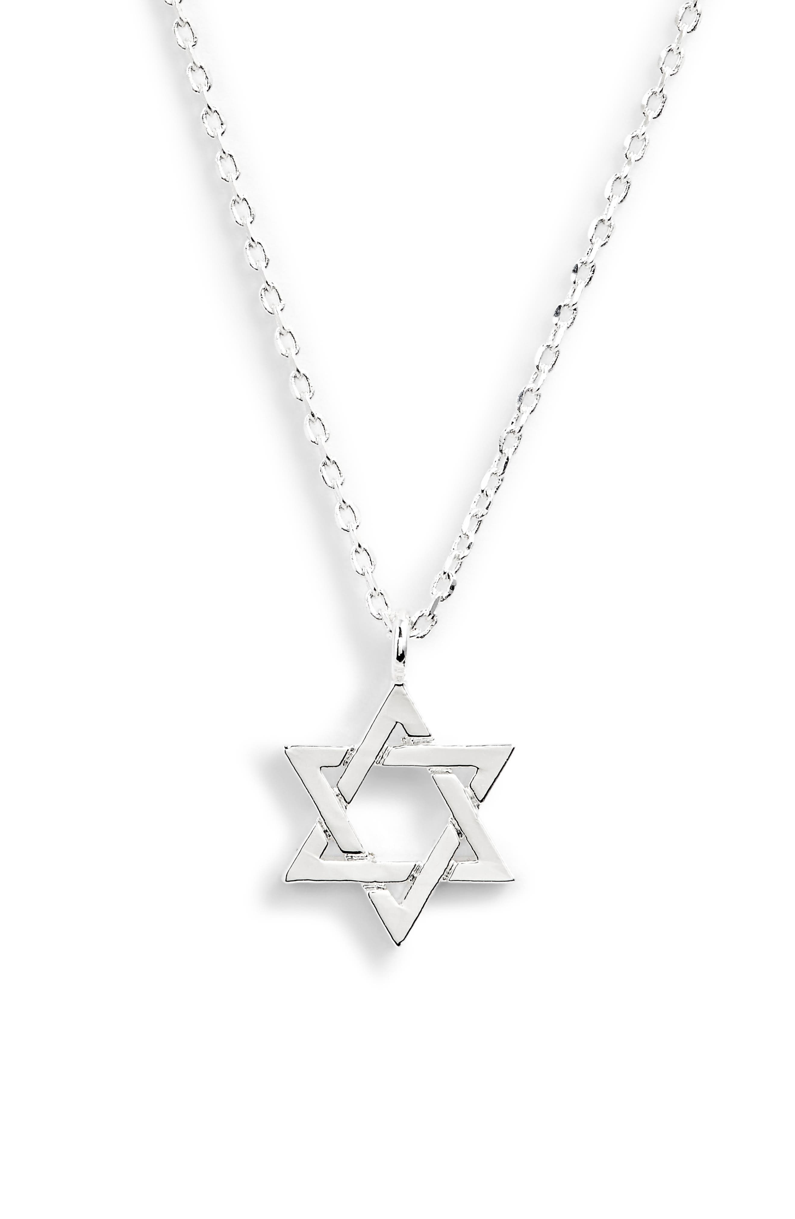 Star of David Necklace,                         Main,                         color, SILVER