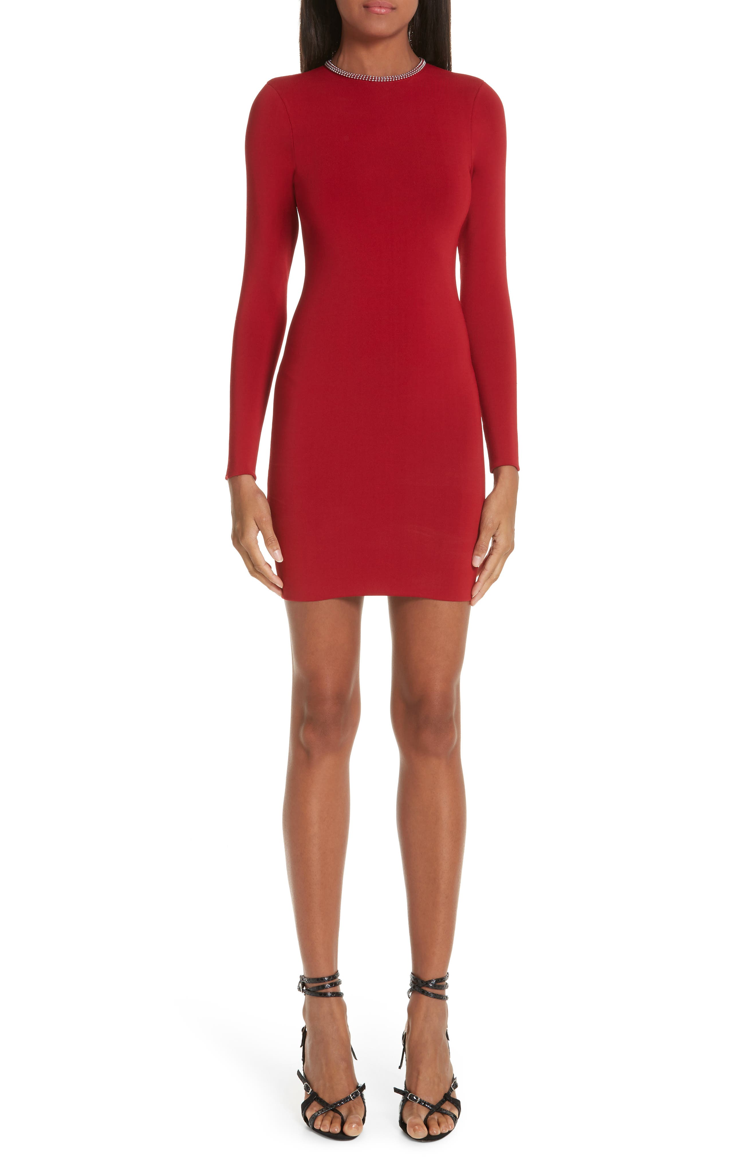 Alexander Wang Ball Chain Trim Body-Con Dress, Red