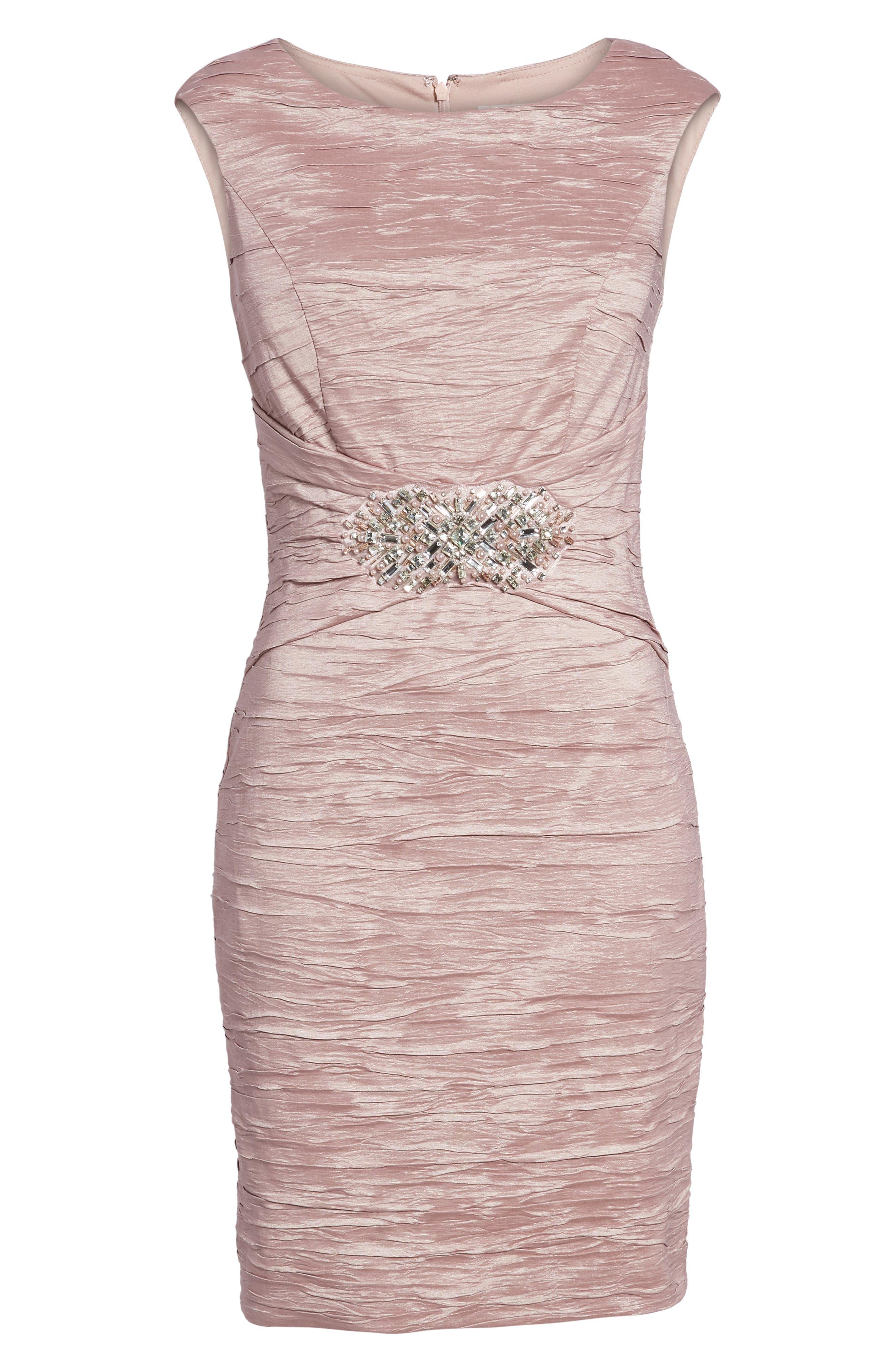 Embellished Taffeta Sheath Dress,                             Alternate thumbnail 6, color,