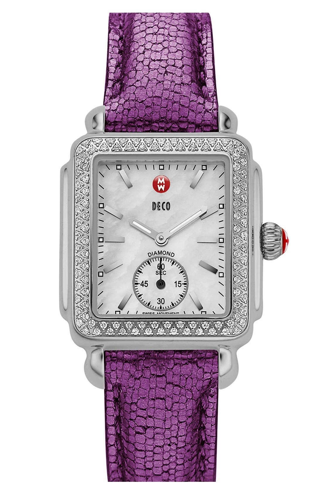 Deco 16 Diamond Watch Head, 29mm x 31mm,                             Alternate thumbnail 6, color,                             SILVER