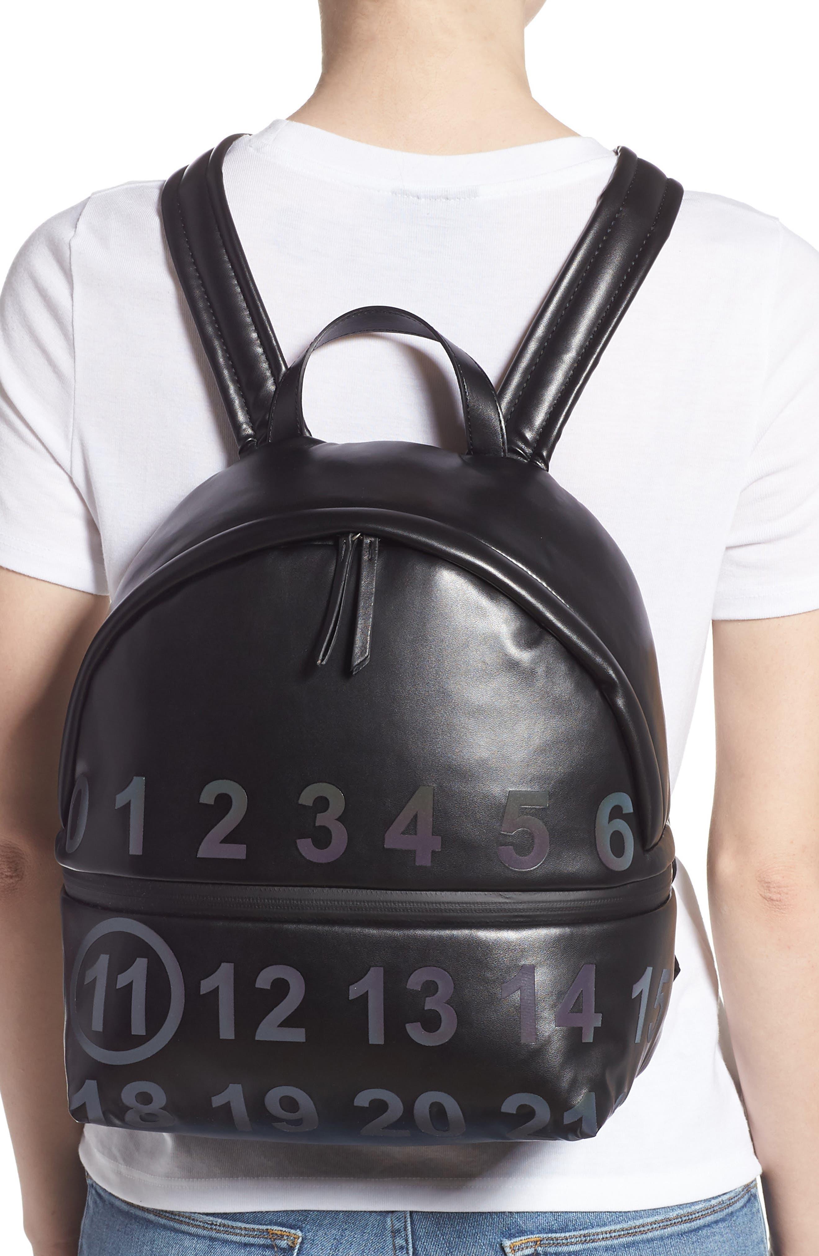 MAISON MARGIELA,                             Medium Number Print Faux Leather Backpack,                             Alternate thumbnail 2, color,                             BLACK