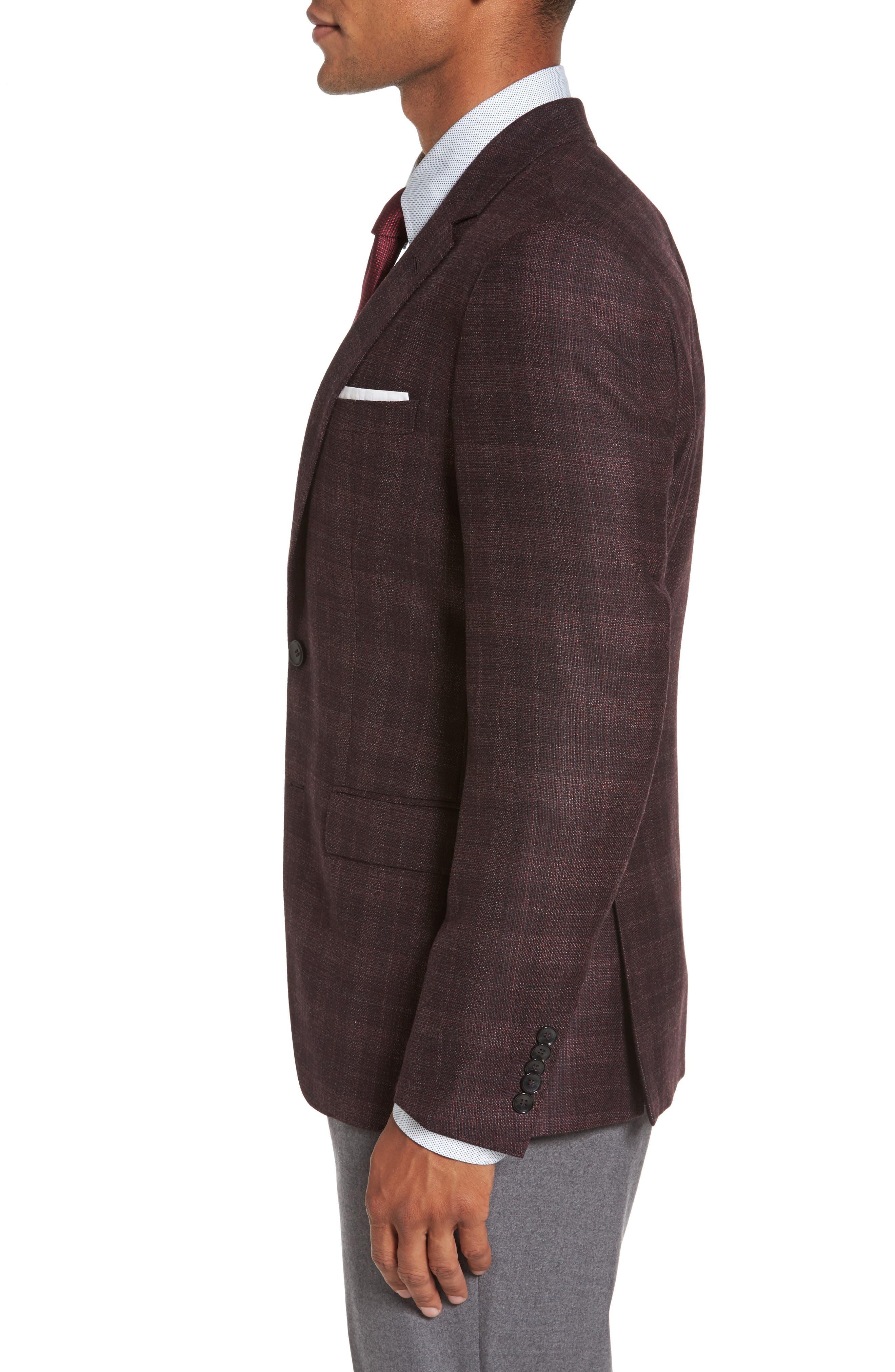 T-Heel Trim Fit Plaid Wool & Silk Sport Coat,                             Alternate thumbnail 3, color,                             606