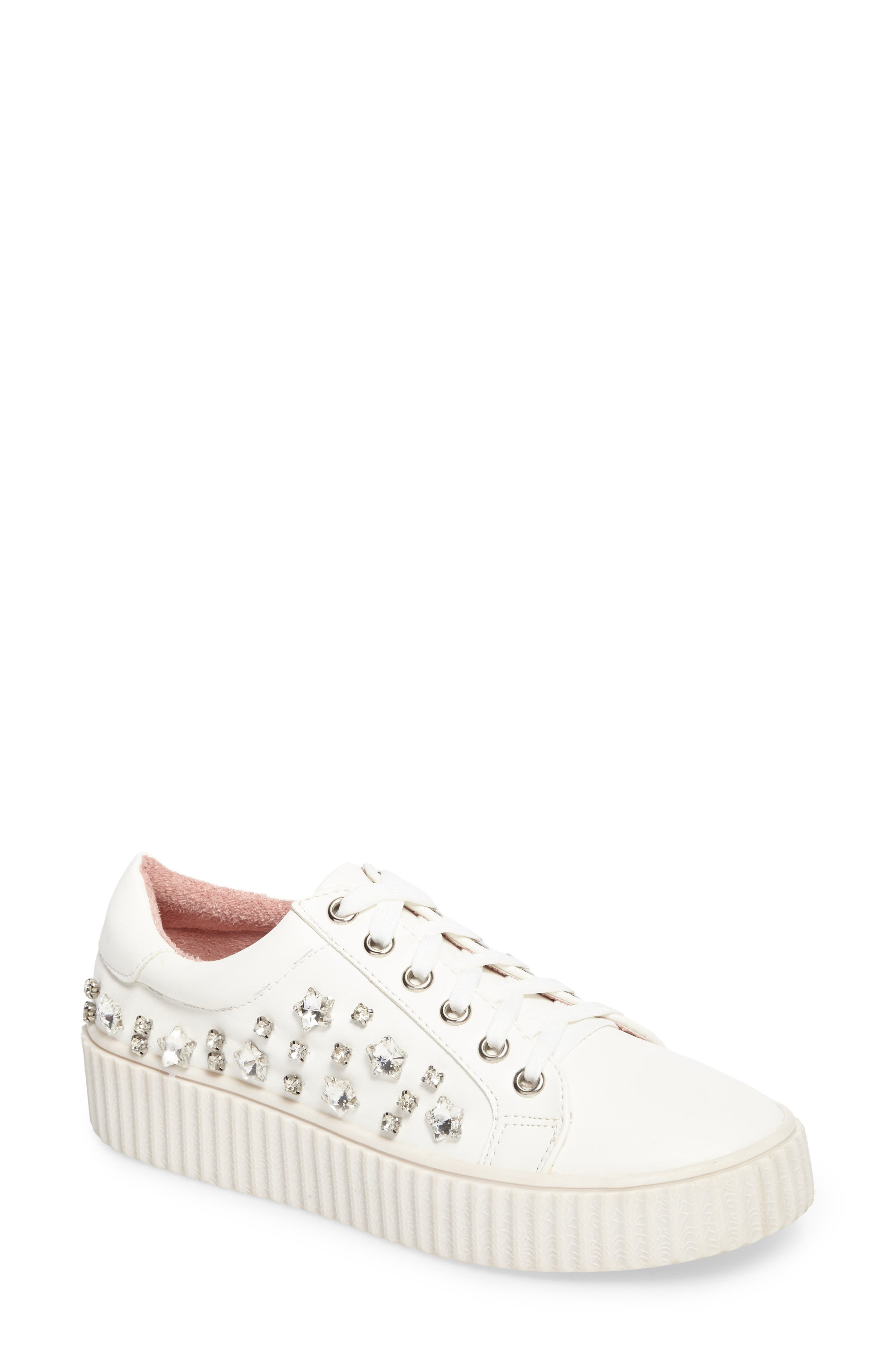 Pam Embellished Platform Sneaker,                         Main,                         color, WHITE