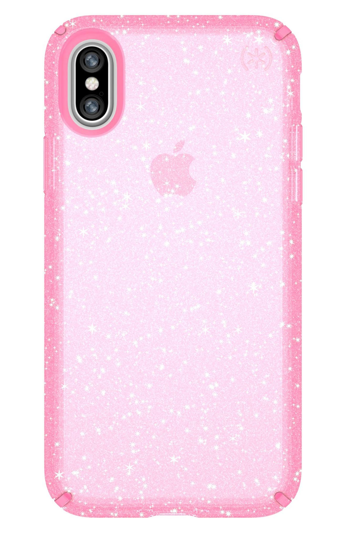 Transparent iPhone X & Xs Case,                             Main thumbnail 1, color,                             BELLA PINK GOLD GLITTER/ PINK