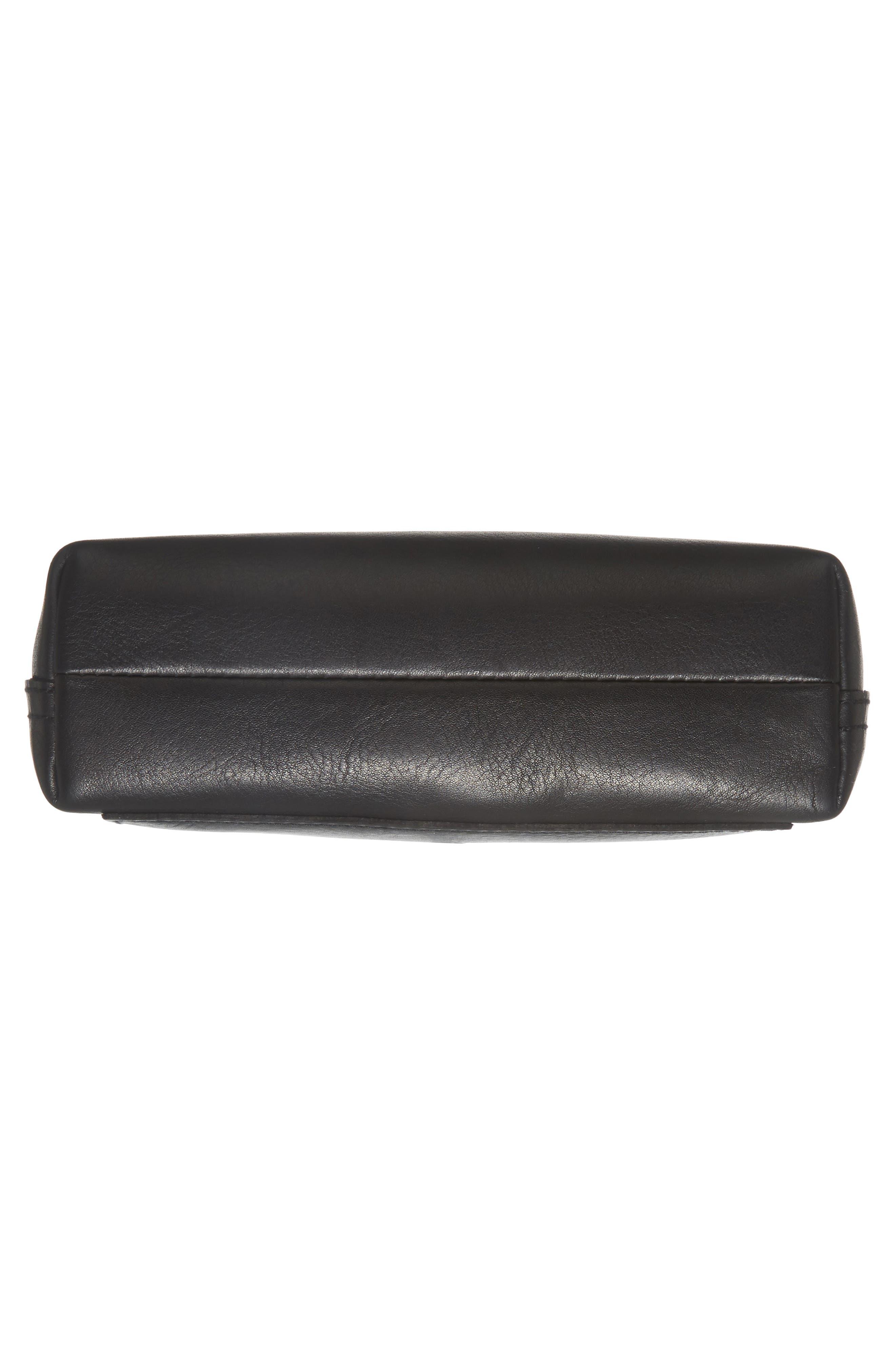Small Transport Leather Crossbody,                             Alternate thumbnail 6, color,                             TRUE BLACK