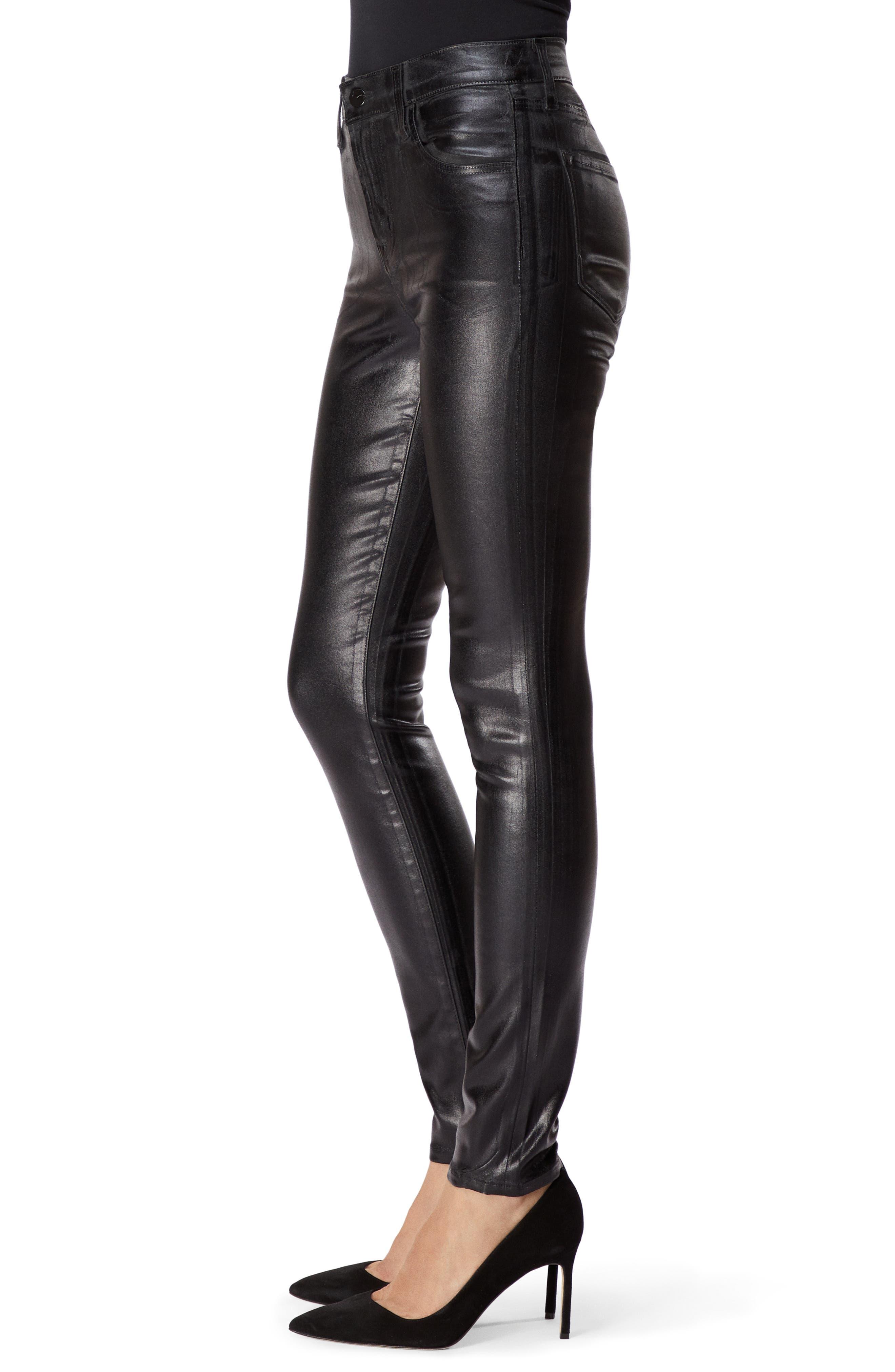 Maria Coated High Waist Skinny Jeans,                             Alternate thumbnail 3, color,                             009