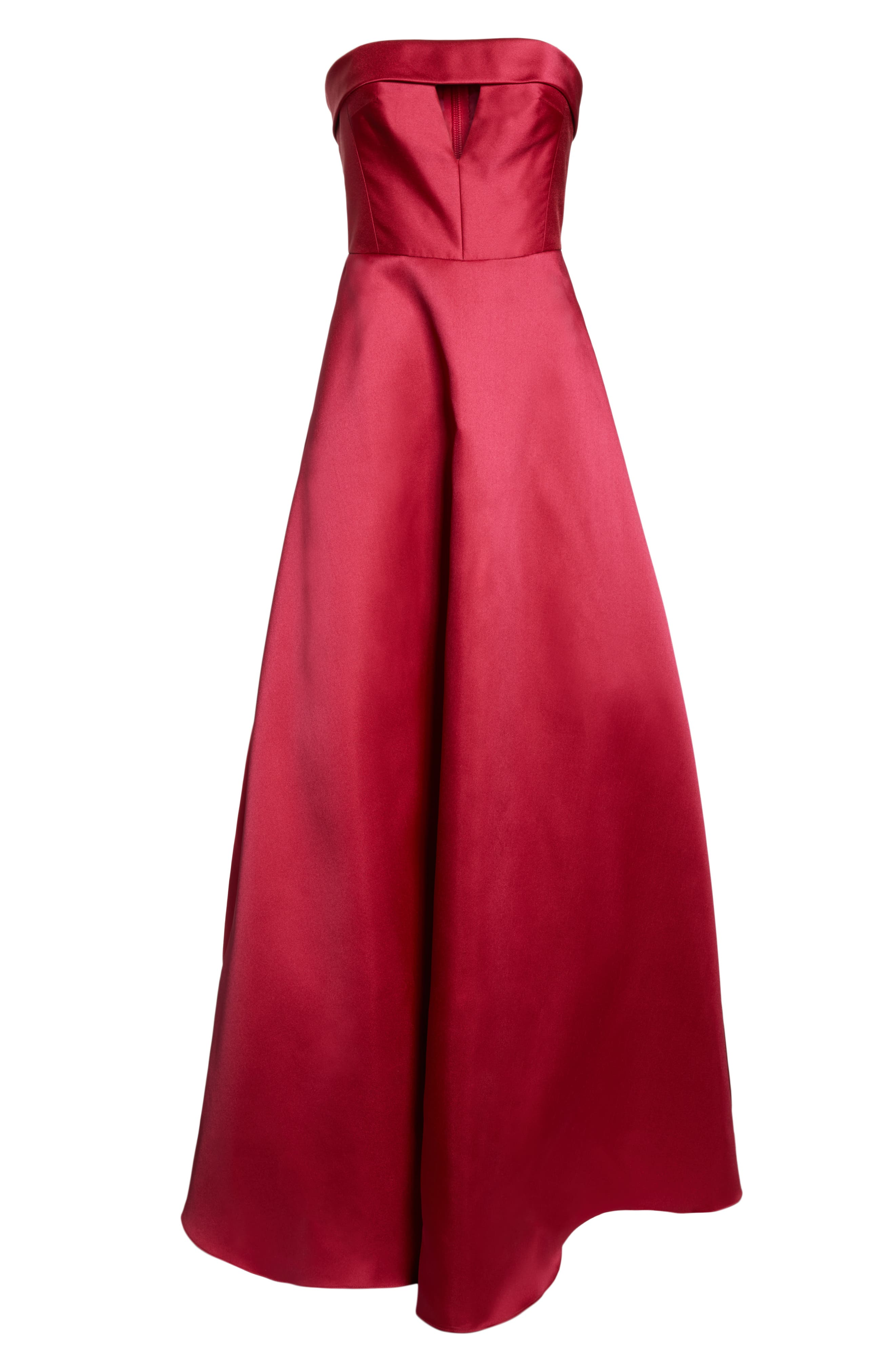 Strapless Satin Ballgown,                             Alternate thumbnail 7, color,                             DEEP PINK