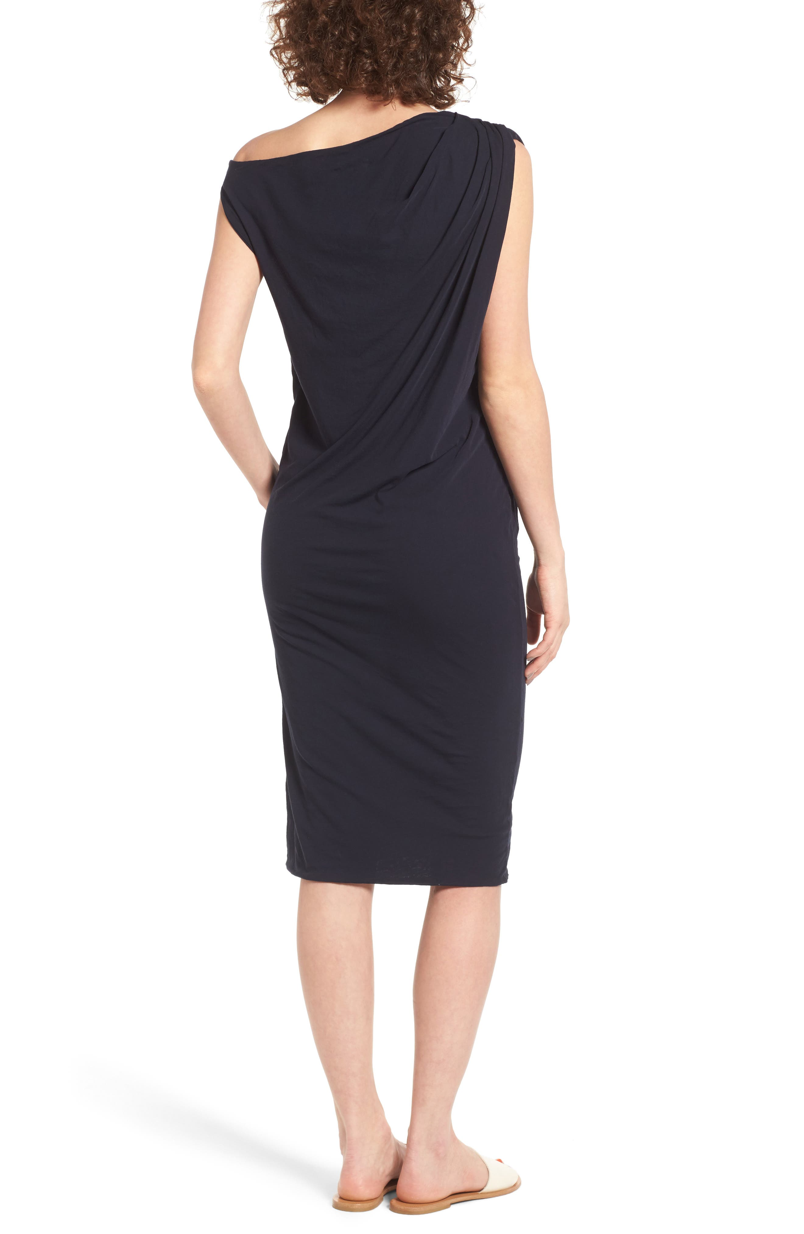 Draped One-Shoulder Midi Dress,                             Alternate thumbnail 6, color,