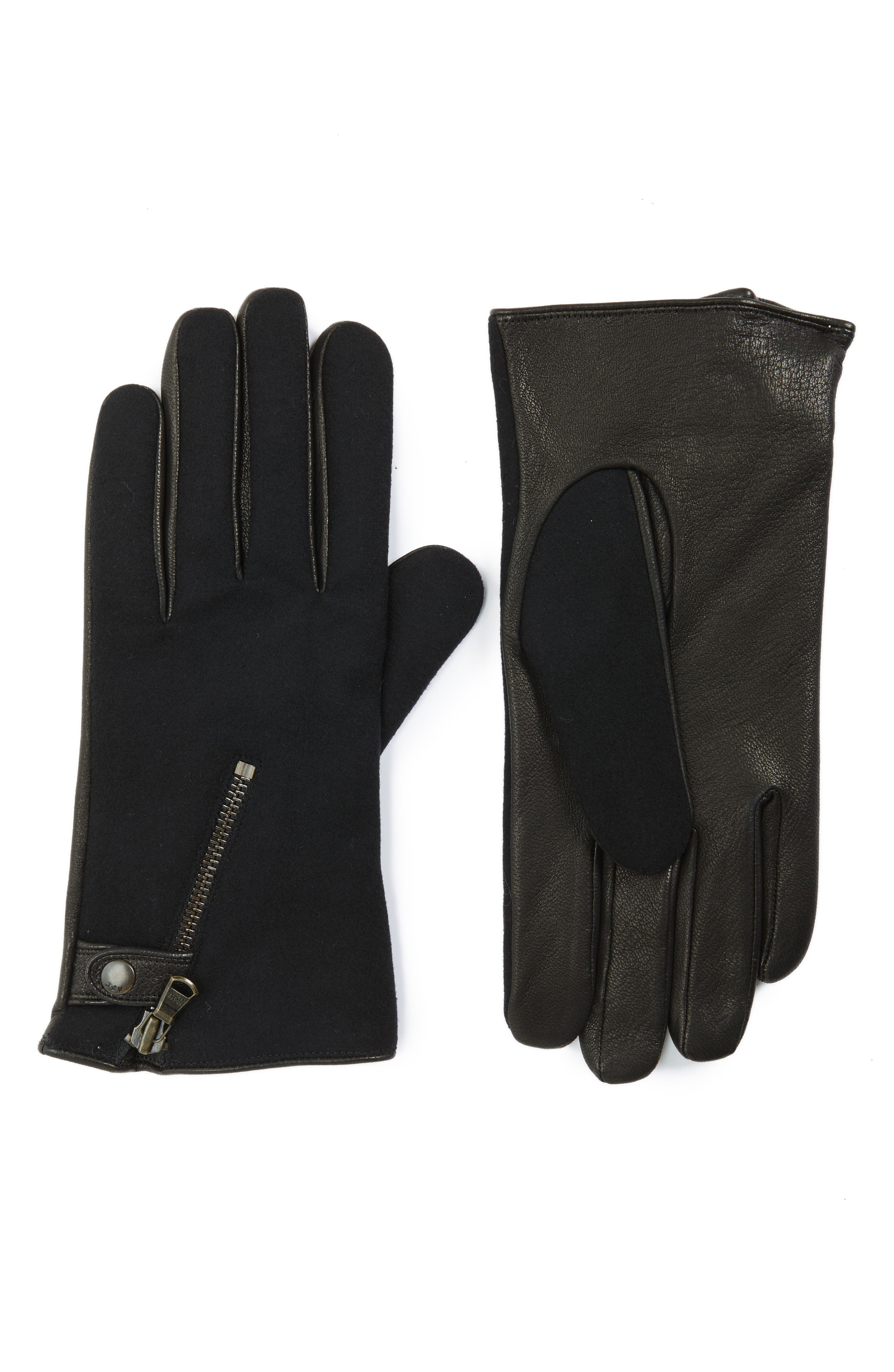 Wool Blend Zip Gloves,                         Main,                         color,