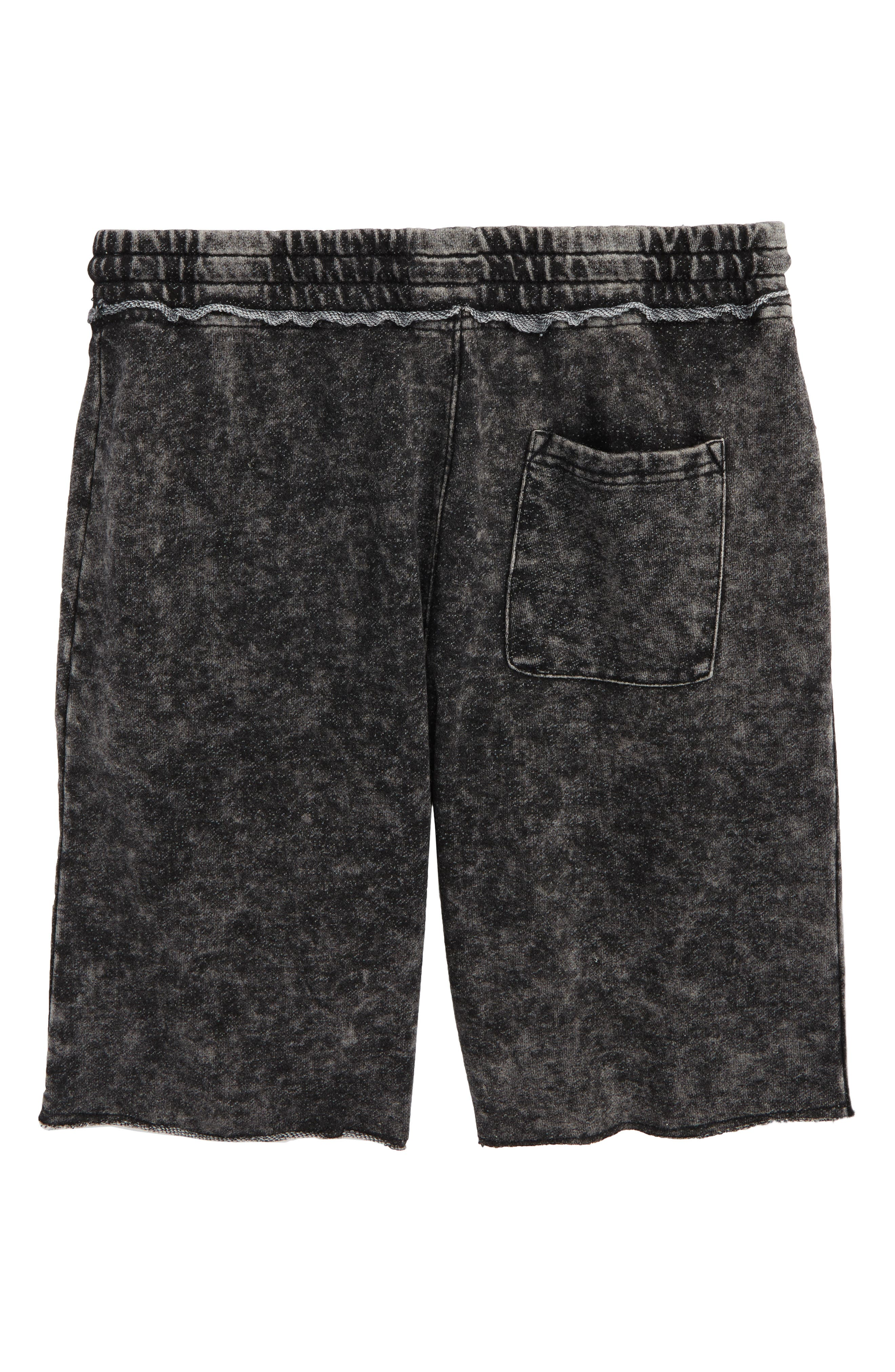 Raw Edge Knit Shorts,                             Alternate thumbnail 2, color,                             001