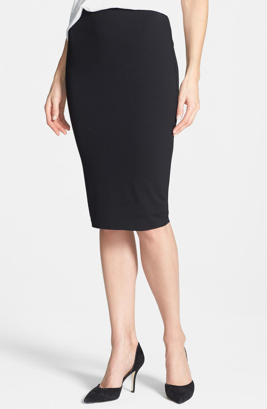 Stretch Knit Midi Tube Skirt,                             Main thumbnail 1, color,                             RICH BLACK