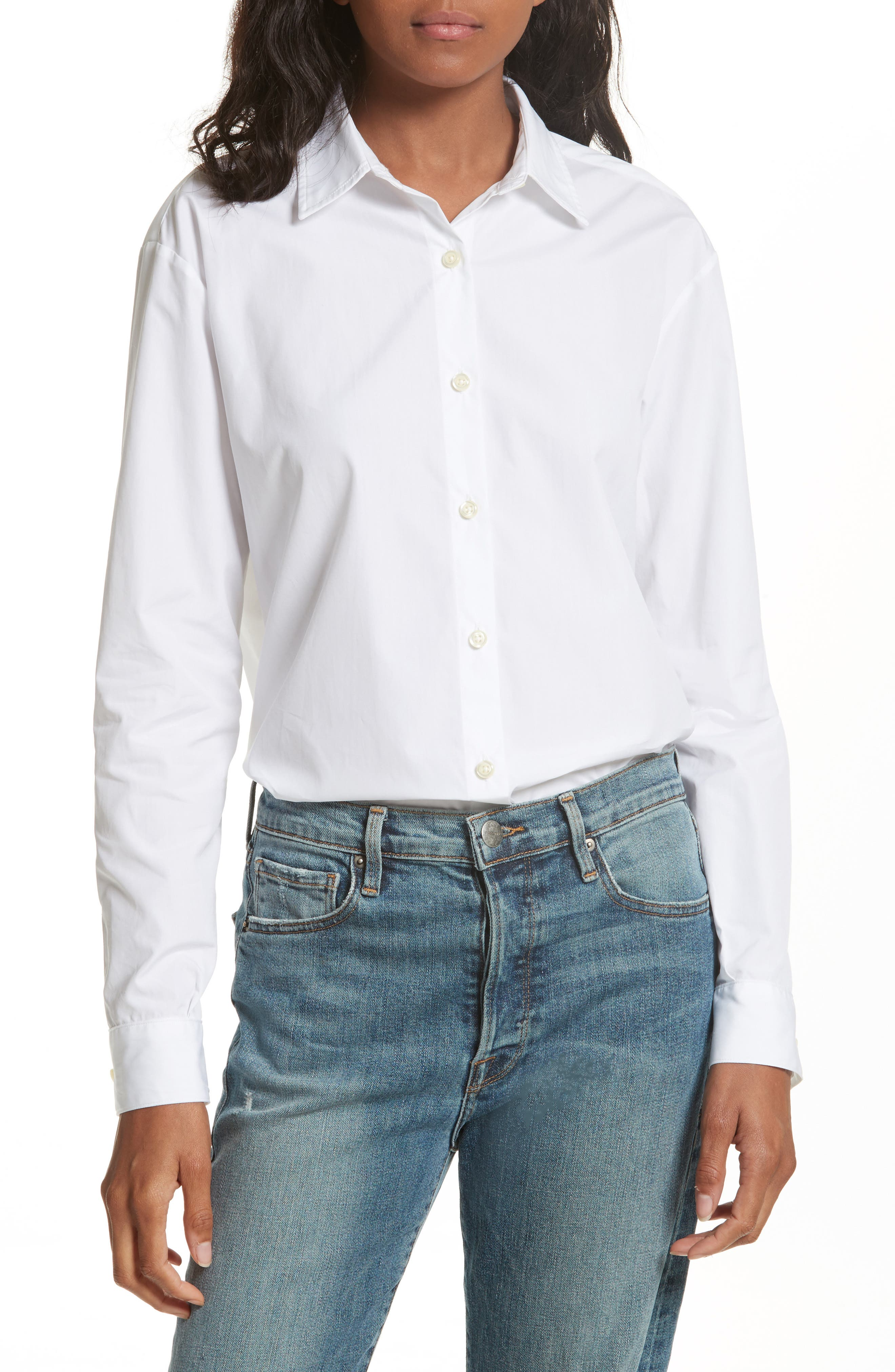 The Hutton Cotton Poplin Shirt,                         Main,                         color, WHITE