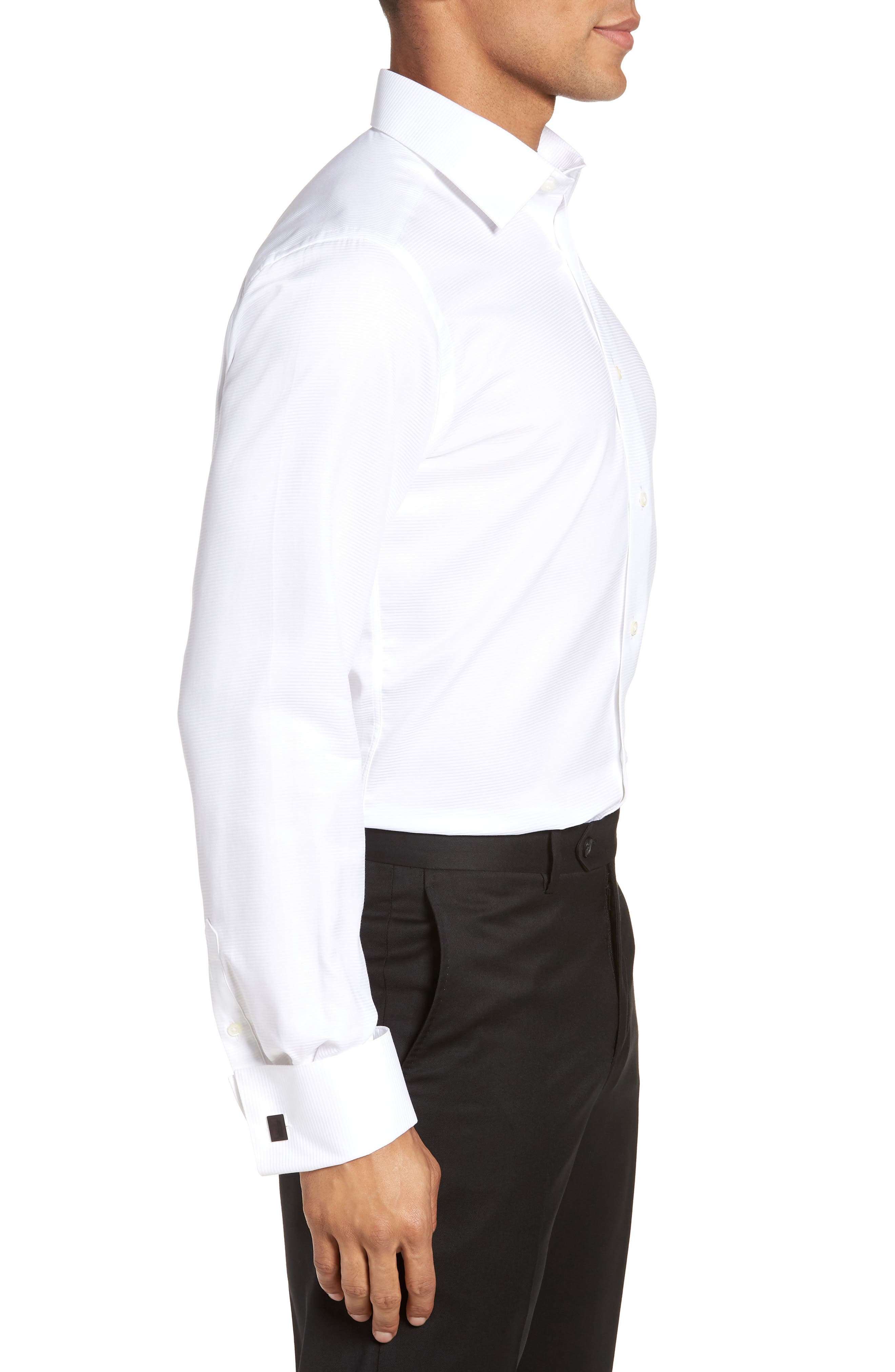 Trim Fit Twill French Cuff Tuxedo Shirt,                             Alternate thumbnail 4, color,                             SOLID WHITE