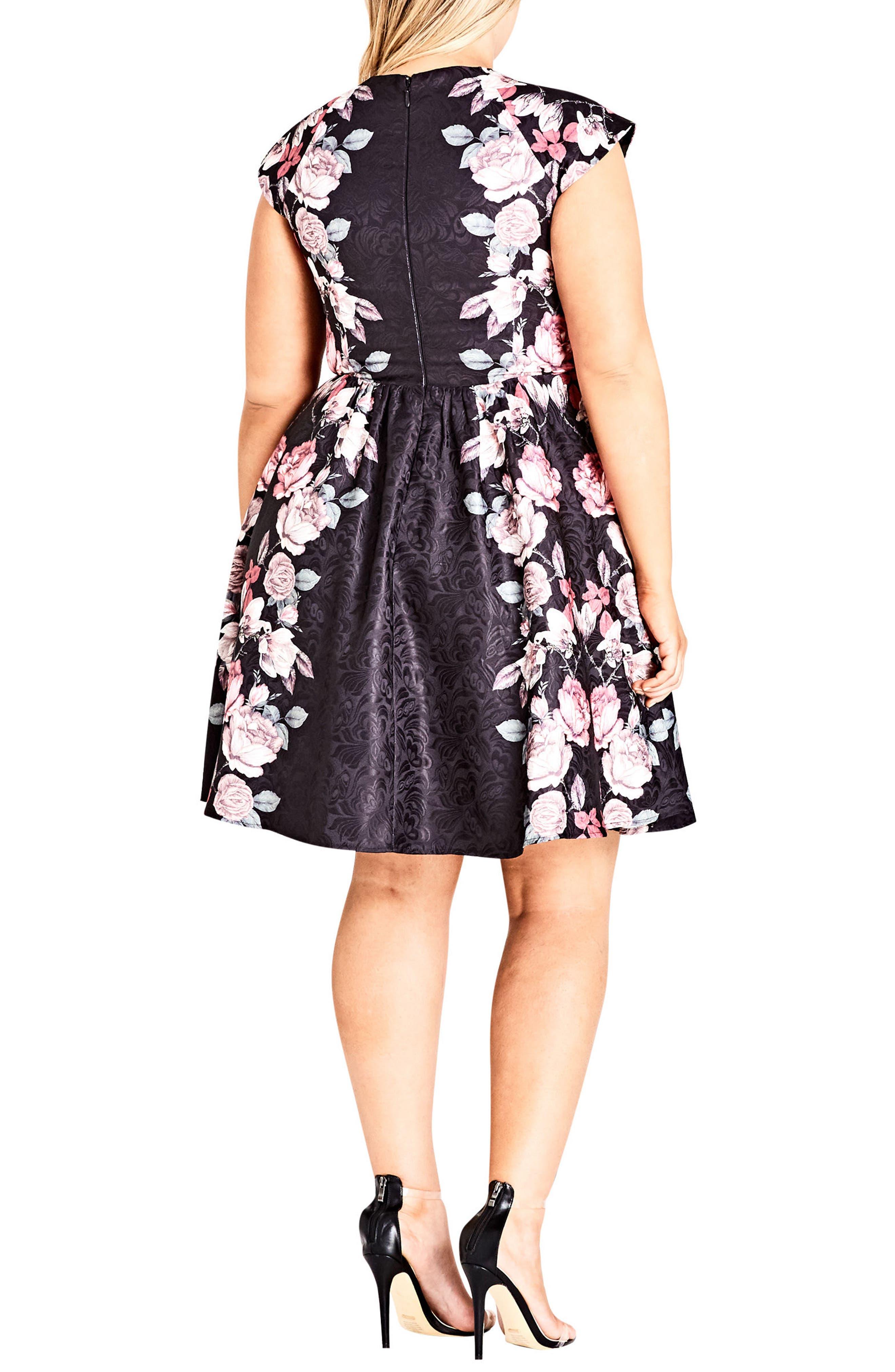 Rose Bloom Fit & Flare Dress,                             Alternate thumbnail 2, color,                             ROSE BLOSSOM