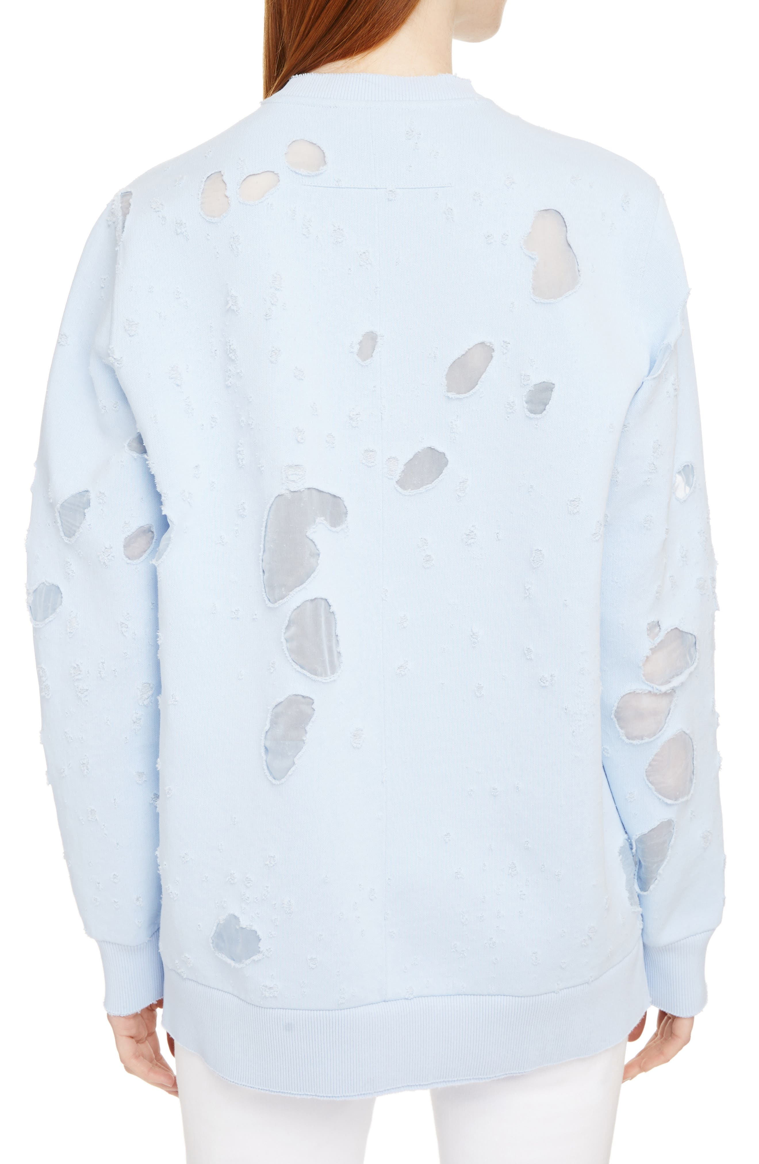 Destroyed Logo Sweater,                             Alternate thumbnail 2, color,                             BABY BLUE
