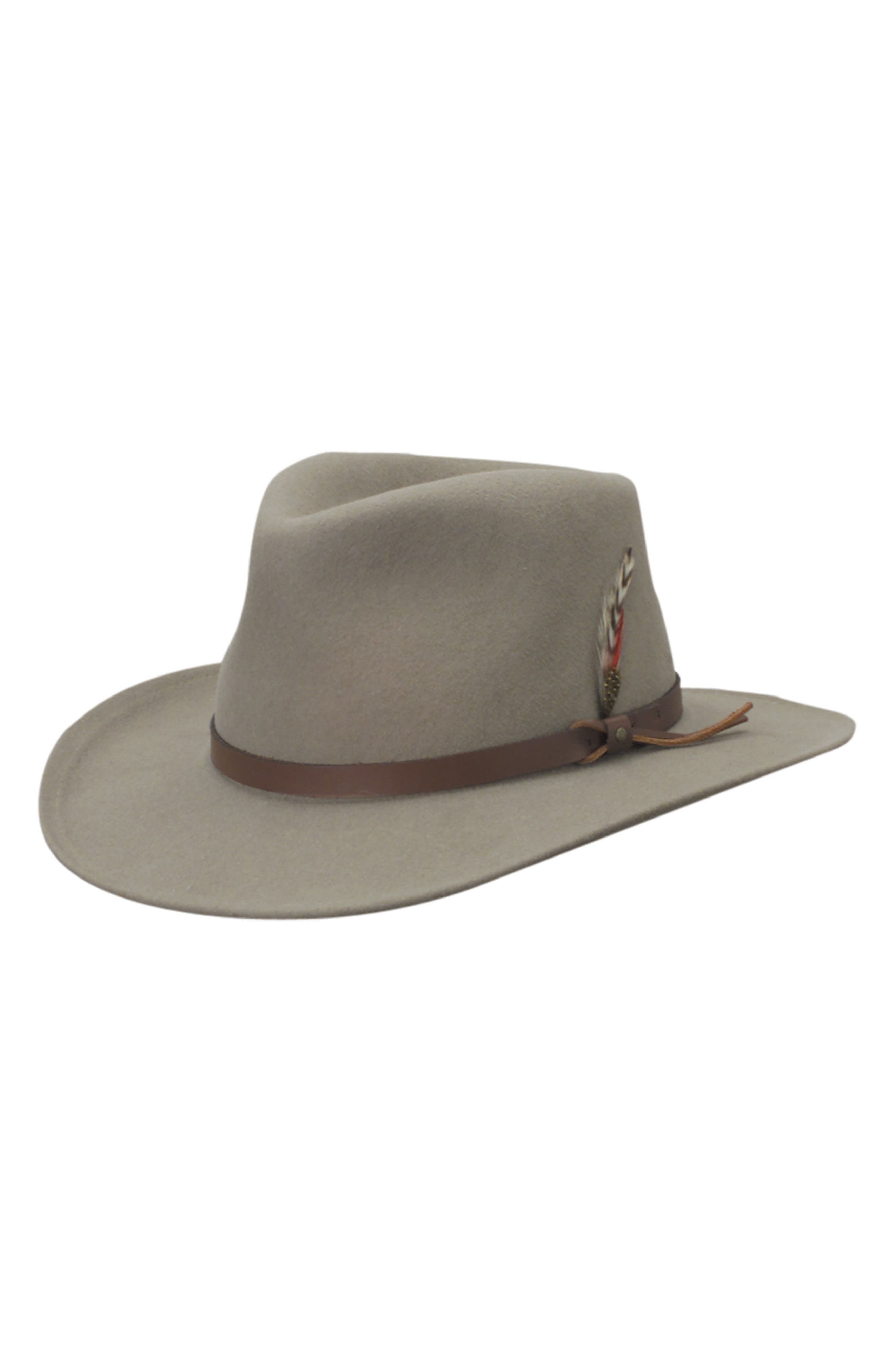 'Classico' Crushable Felt Outback Hat,                             Alternate thumbnail 2, color,                             PUTTY GREY/ BROWN