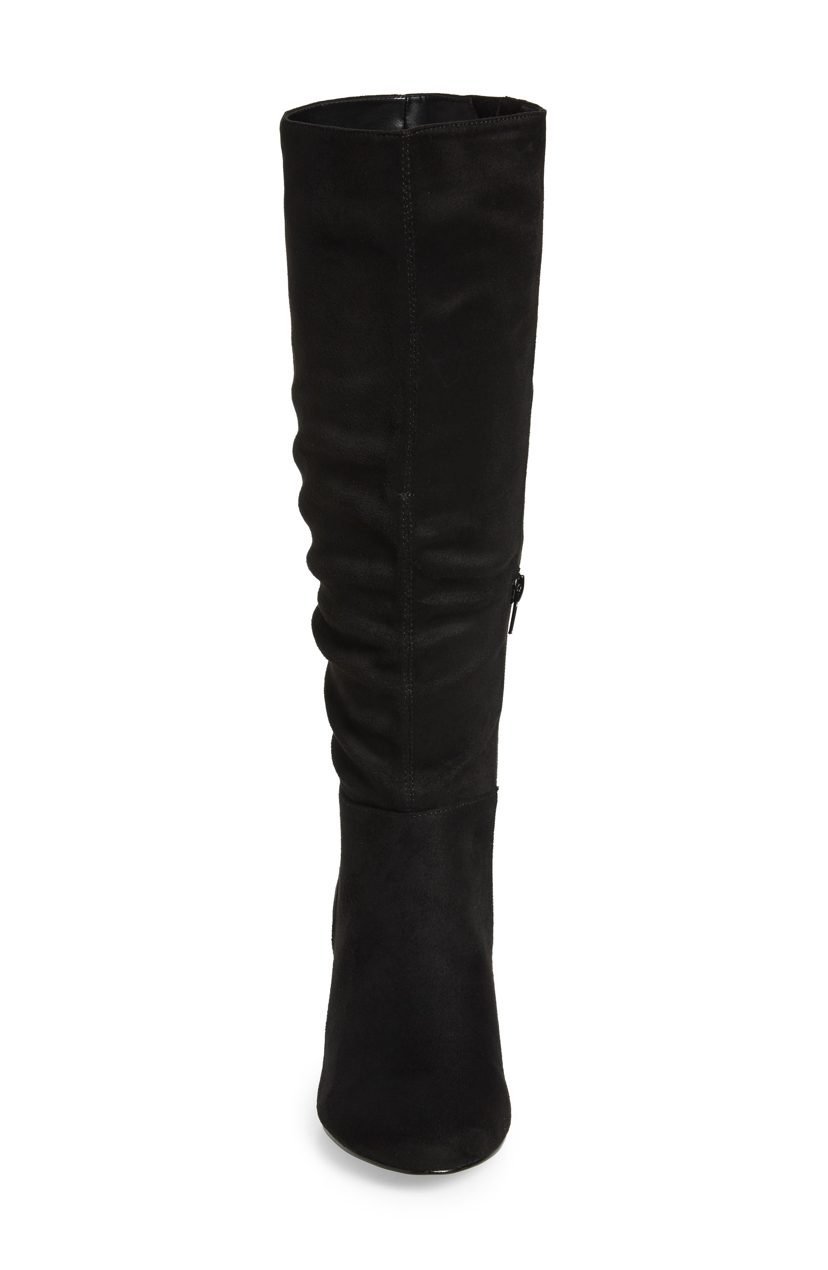 Karen II Knee High Slouch Boot,                             Alternate thumbnail 4, color,                             BLACK FAUX SUEDE