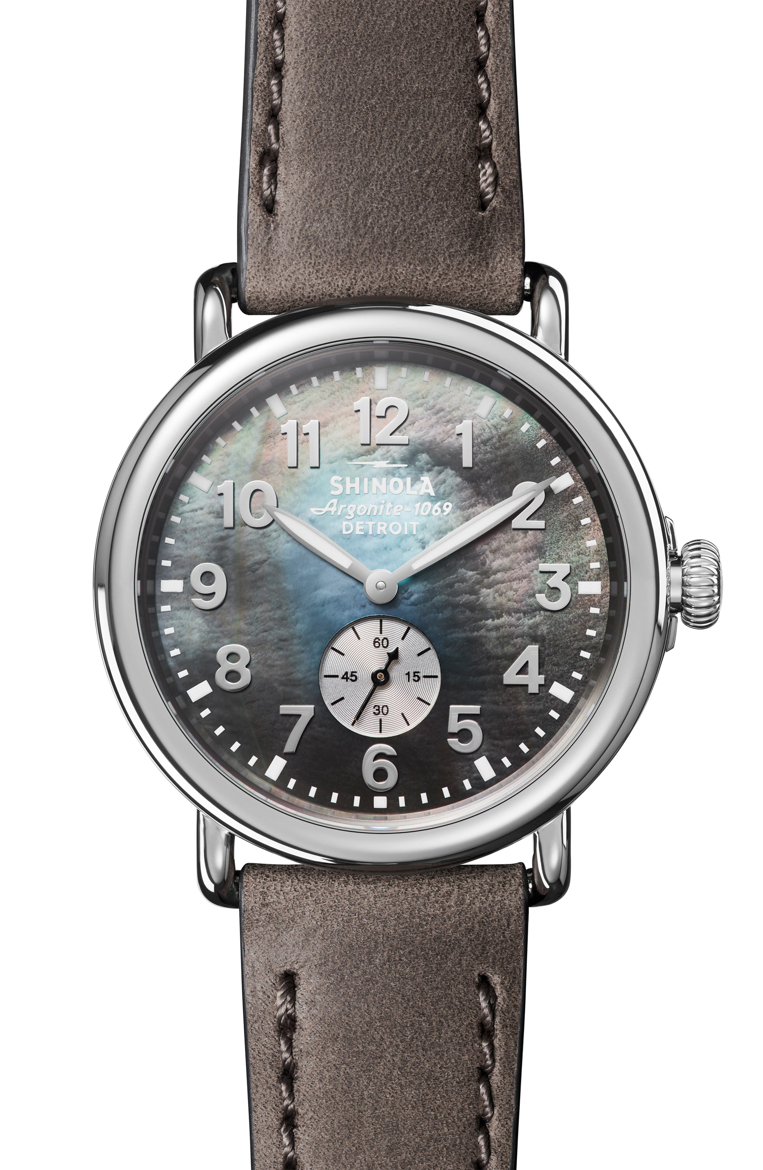 'The Runwell' Leather Strap Watch, 41mm,                         Main,                         color, HEATHER GREY/ MOP/ SILVER