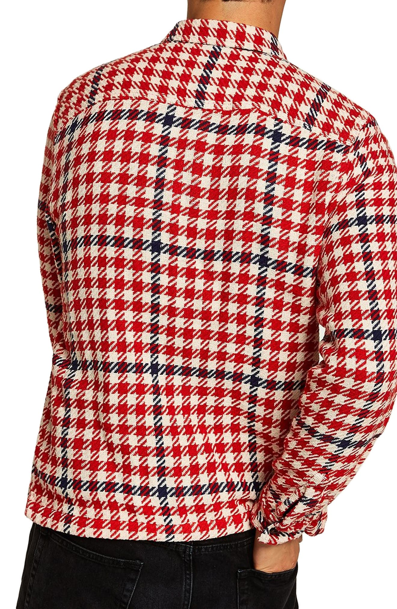 Classic Fit Houndstooth Overshirt,                             Alternate thumbnail 3, color,                             RED MULTI