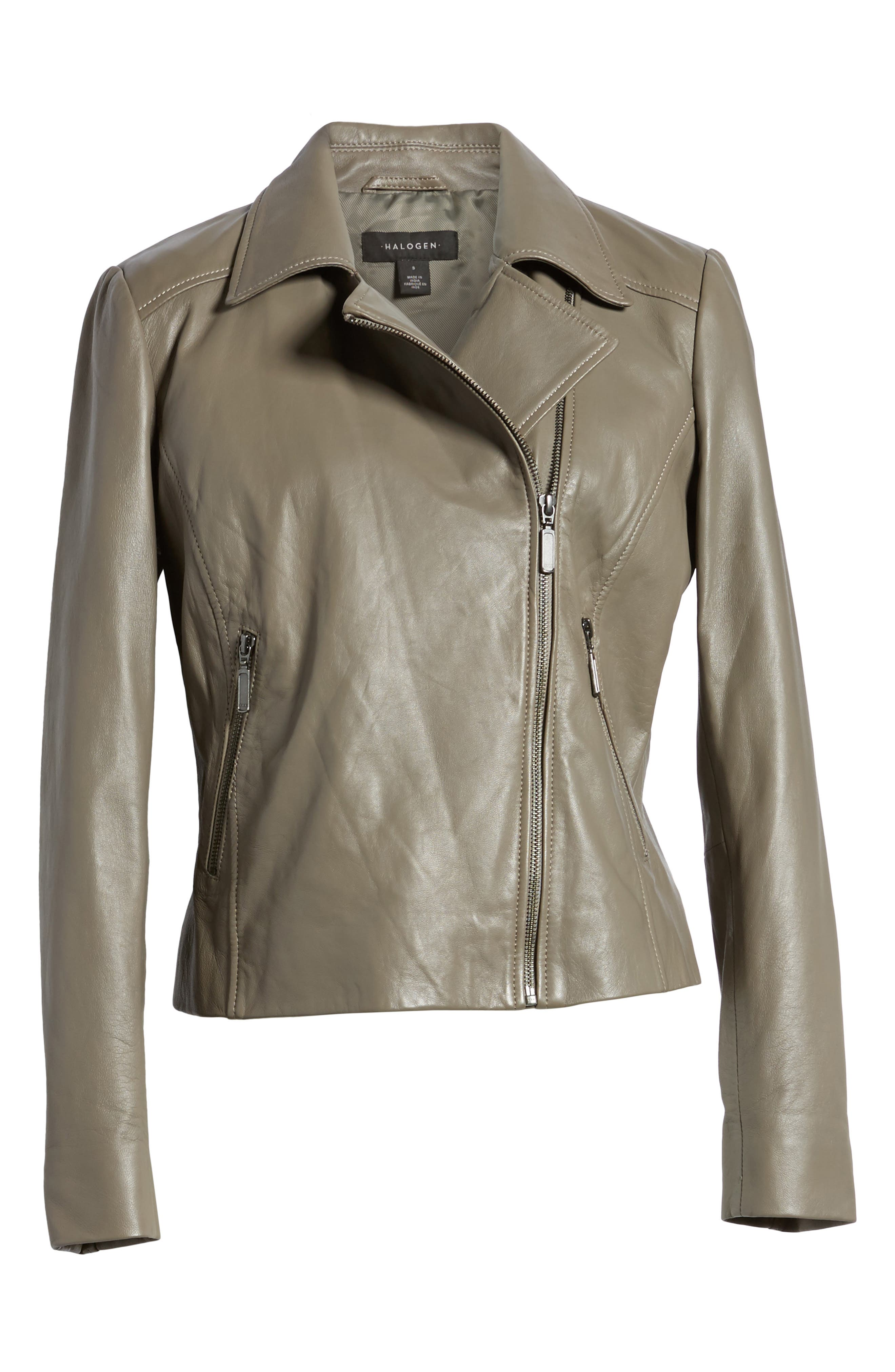 Leather Moto Jacket,                             Alternate thumbnail 5, color,                             020
