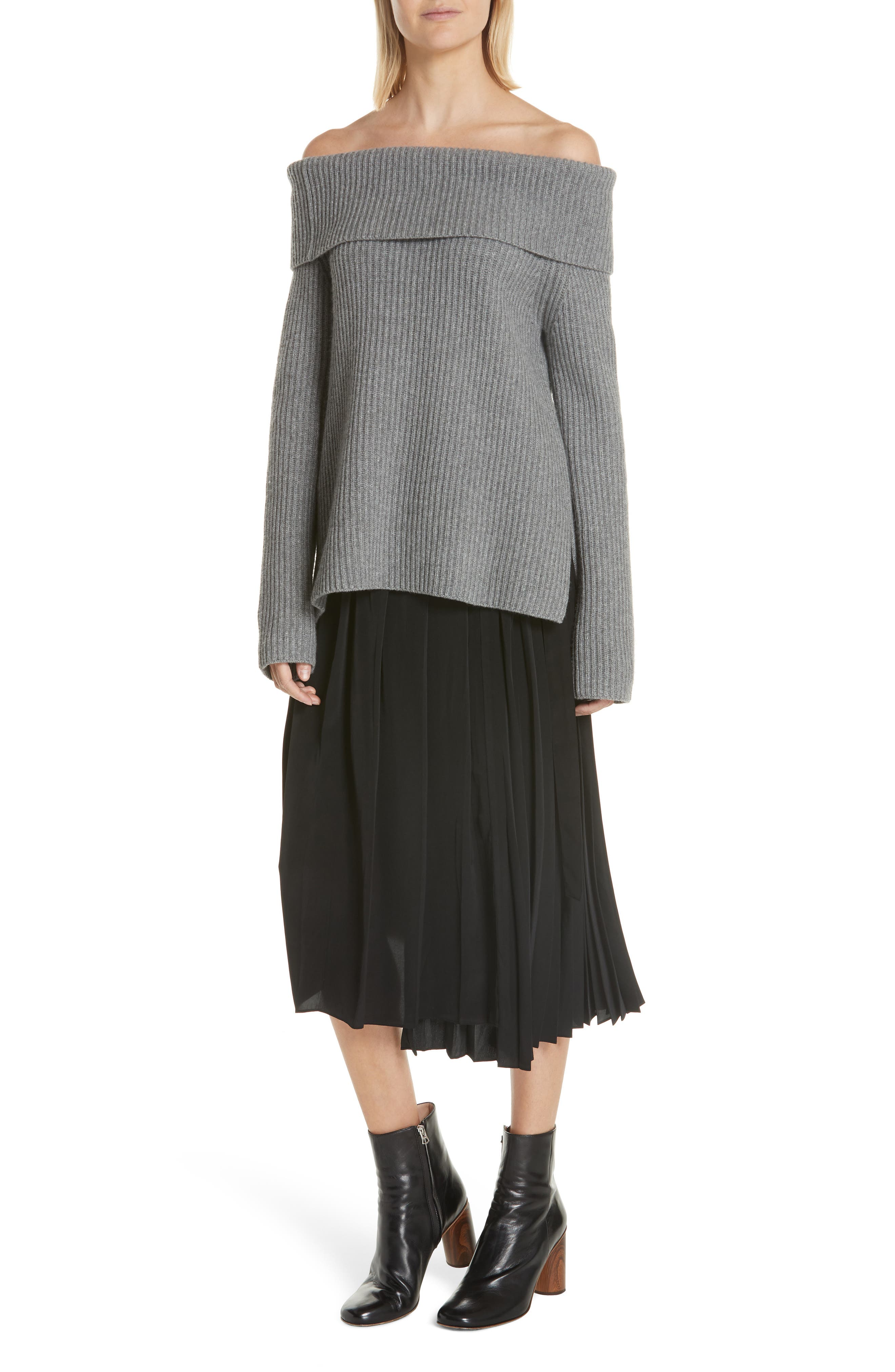 Asymmetrical Pleated Midi Skirt,                             Alternate thumbnail 7, color,                             BLACK
