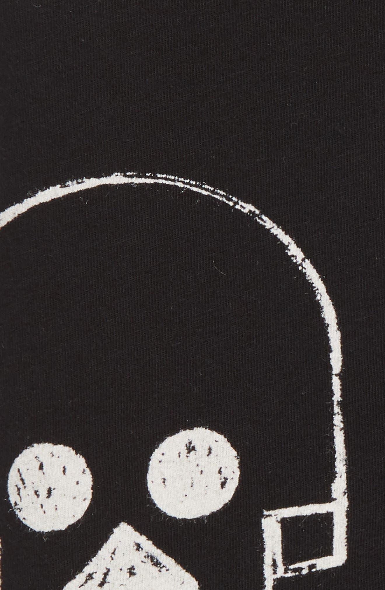 Skull Robot Print Blanket,                             Alternate thumbnail 2, color,                             BLACK