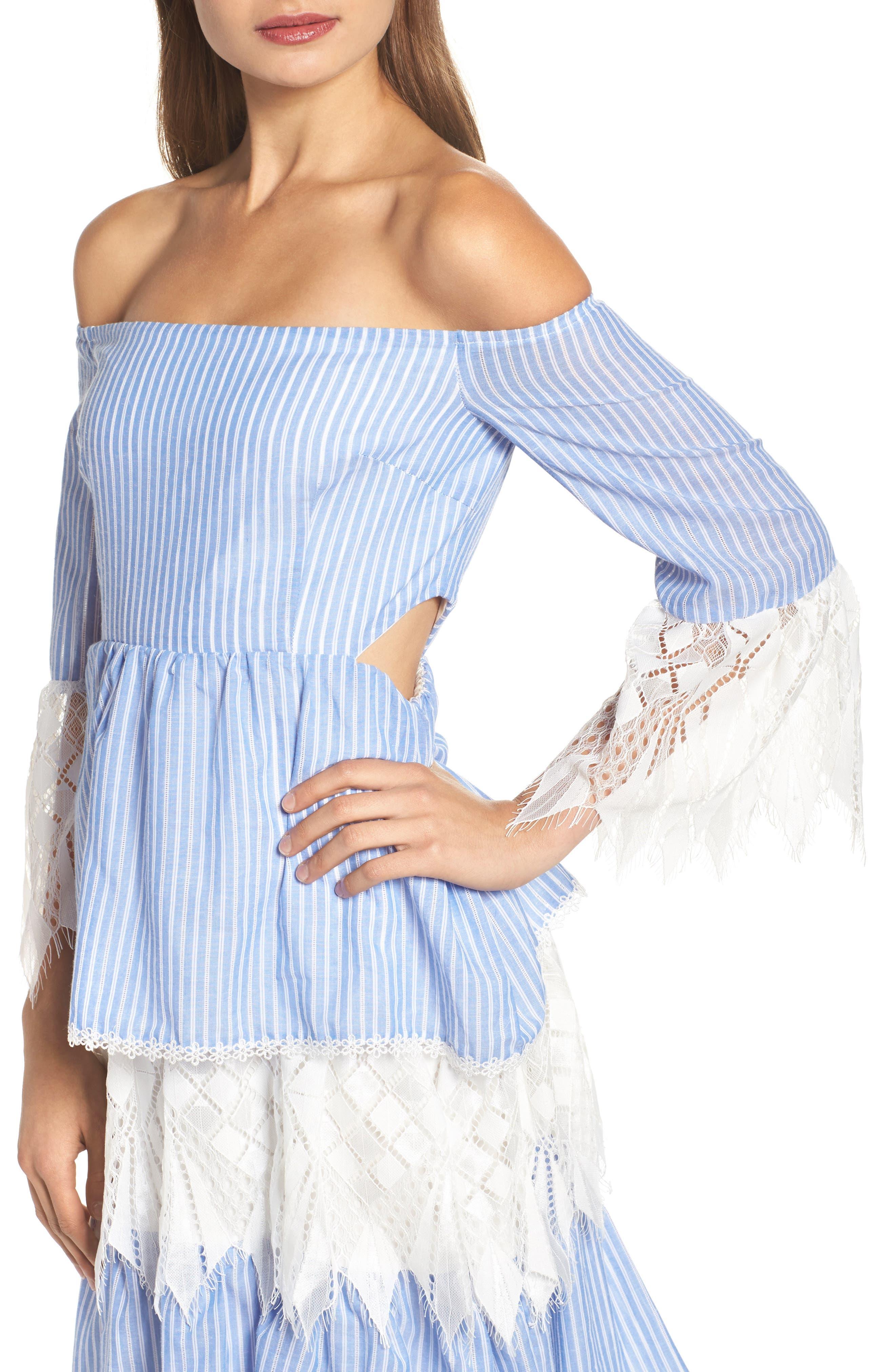 Addison Lace Tier Off the Shoulder Midi Dress,                             Alternate thumbnail 4, color,                             434