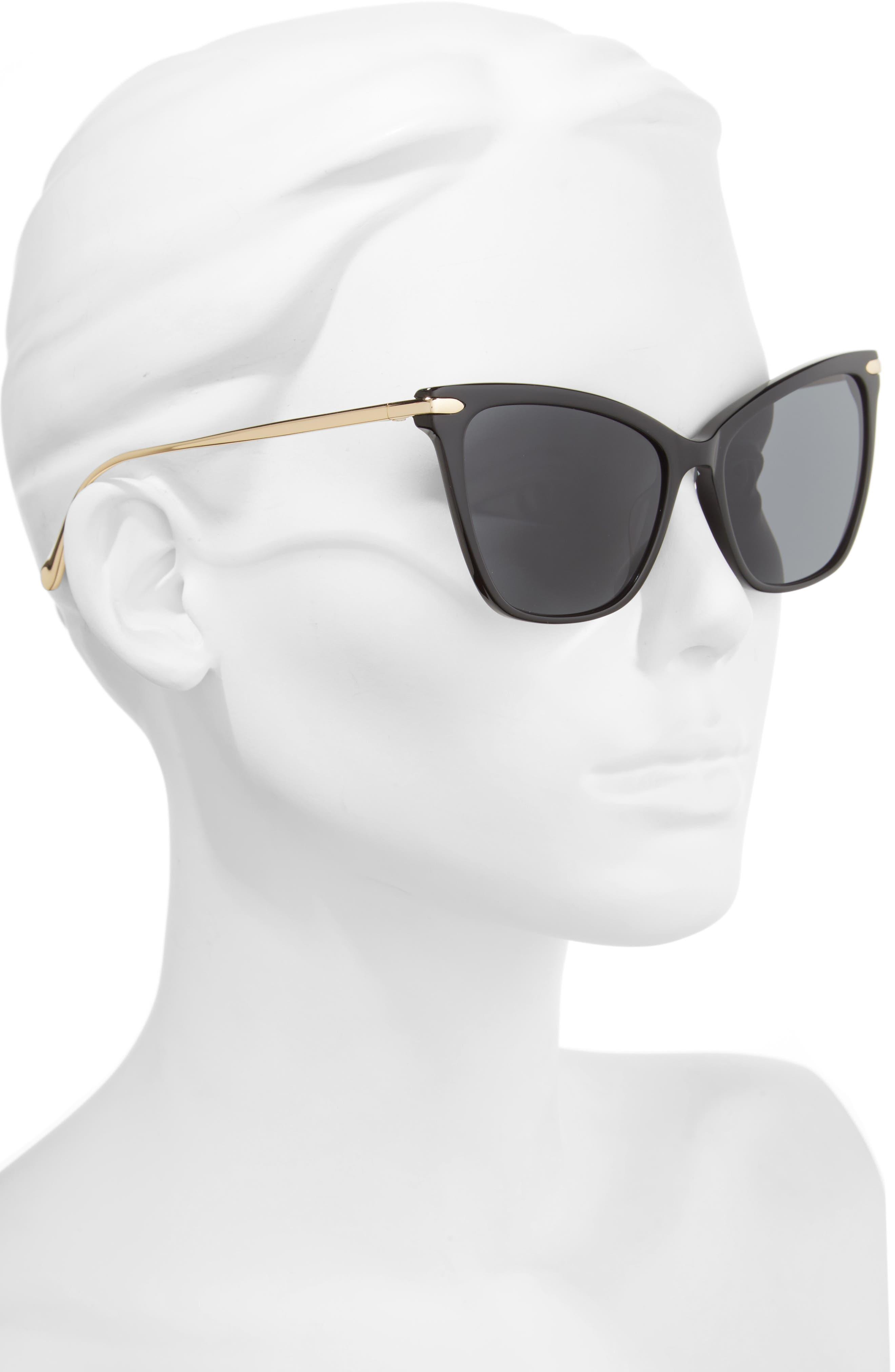 Jetsetter 55mm Cat Eye Sunglasses,                             Alternate thumbnail 2, color,                             001