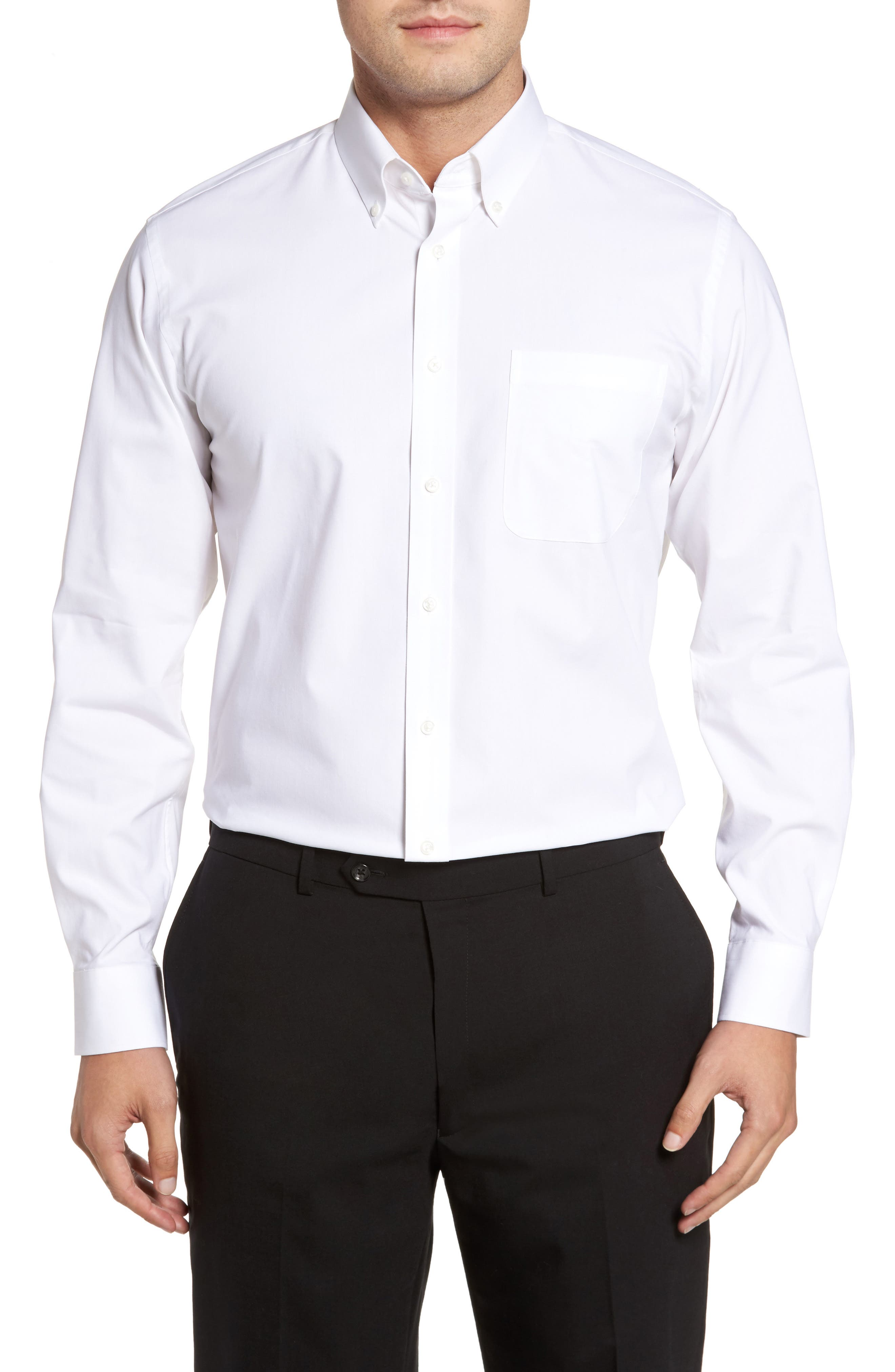 Tech-Smart Traditional Fit Stretch Pinpoint Dress Shirt,                         Main,                         color, WHITE