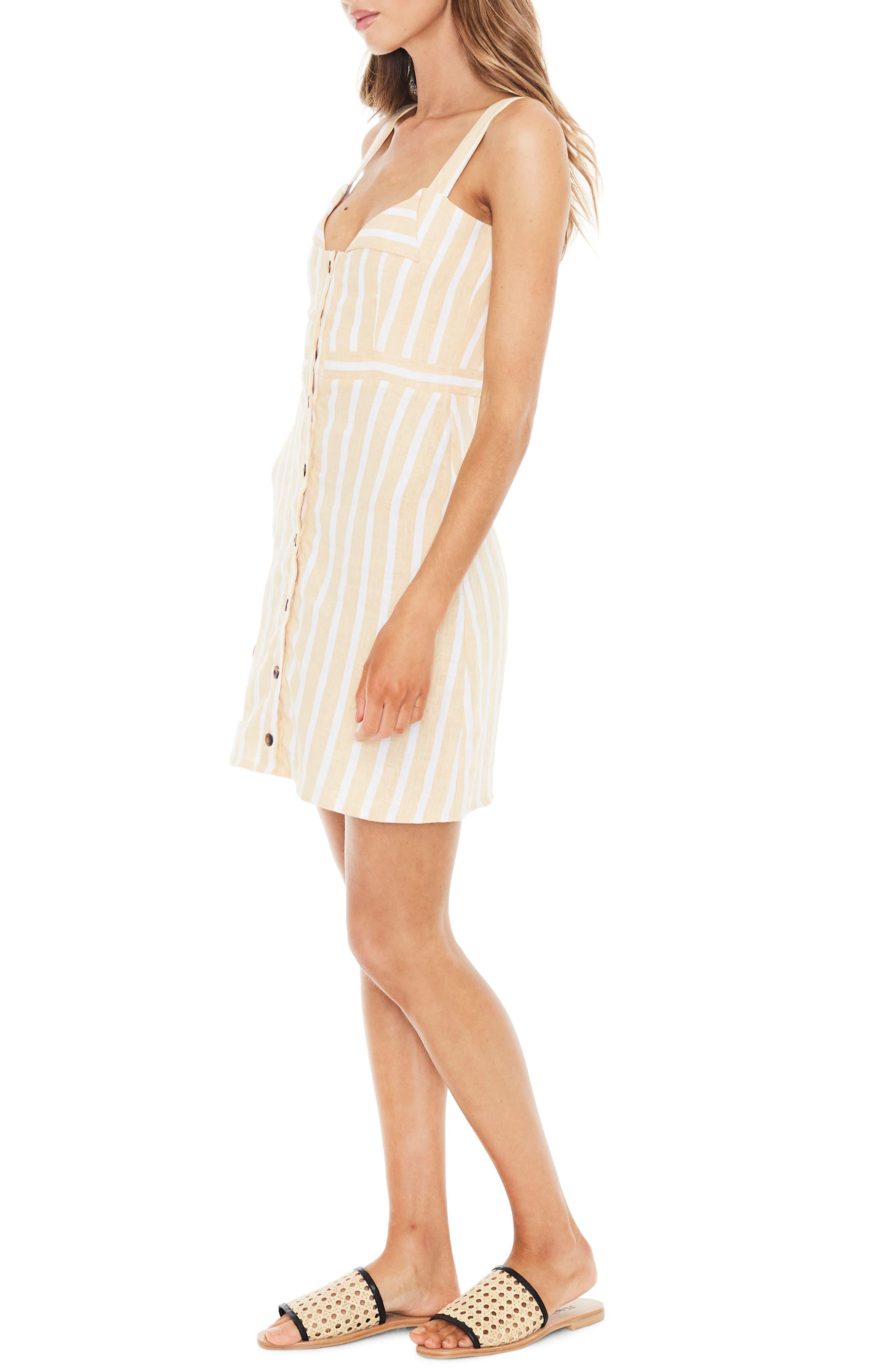 Le Petite Stripe Linen Dress,                             Alternate thumbnail 3, color,                             MAZUR STRIPE PRINT - LEMON