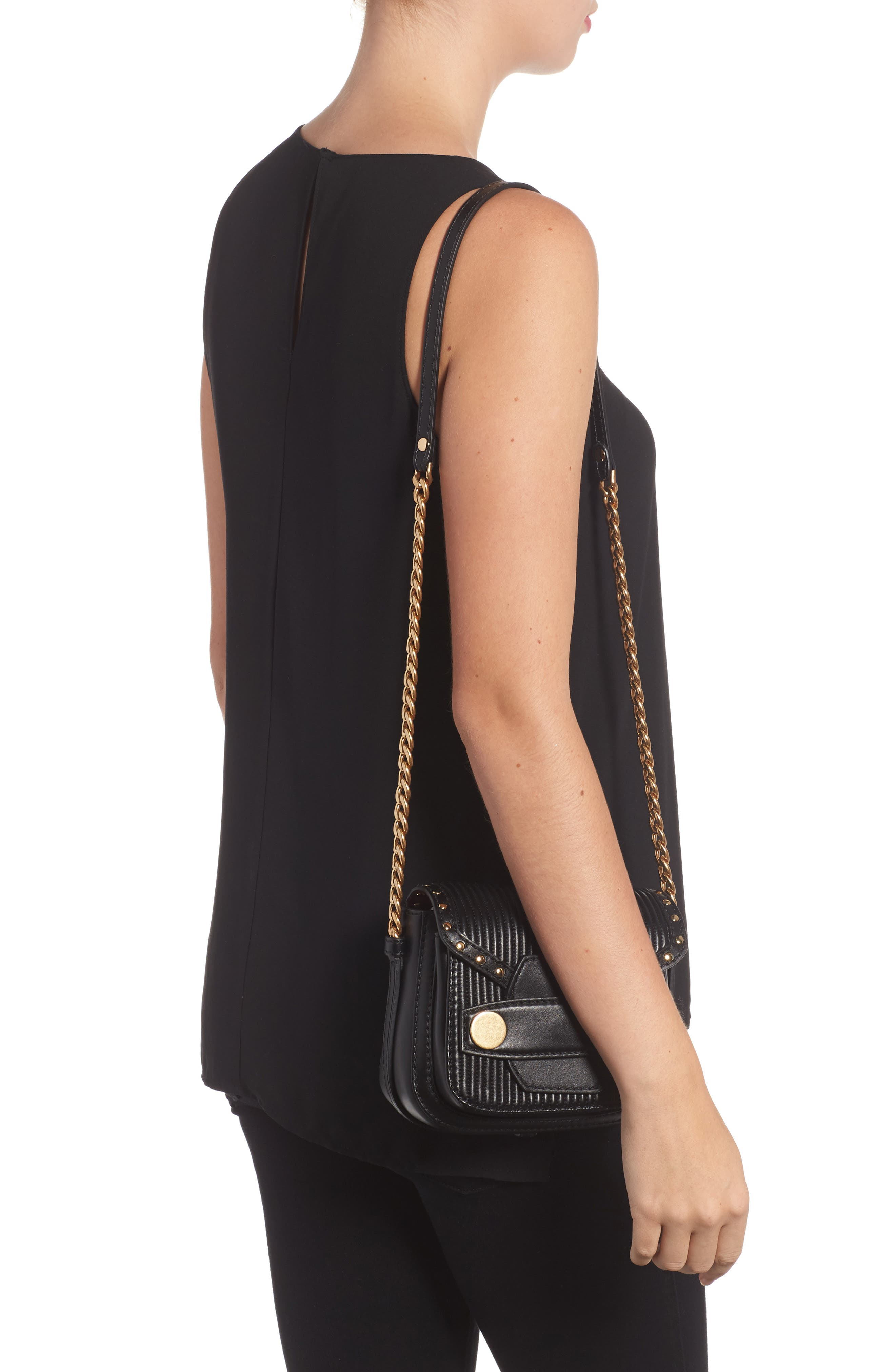 Quilted Faux Leather Crossbody Bag,                             Alternate thumbnail 2, color,                             001