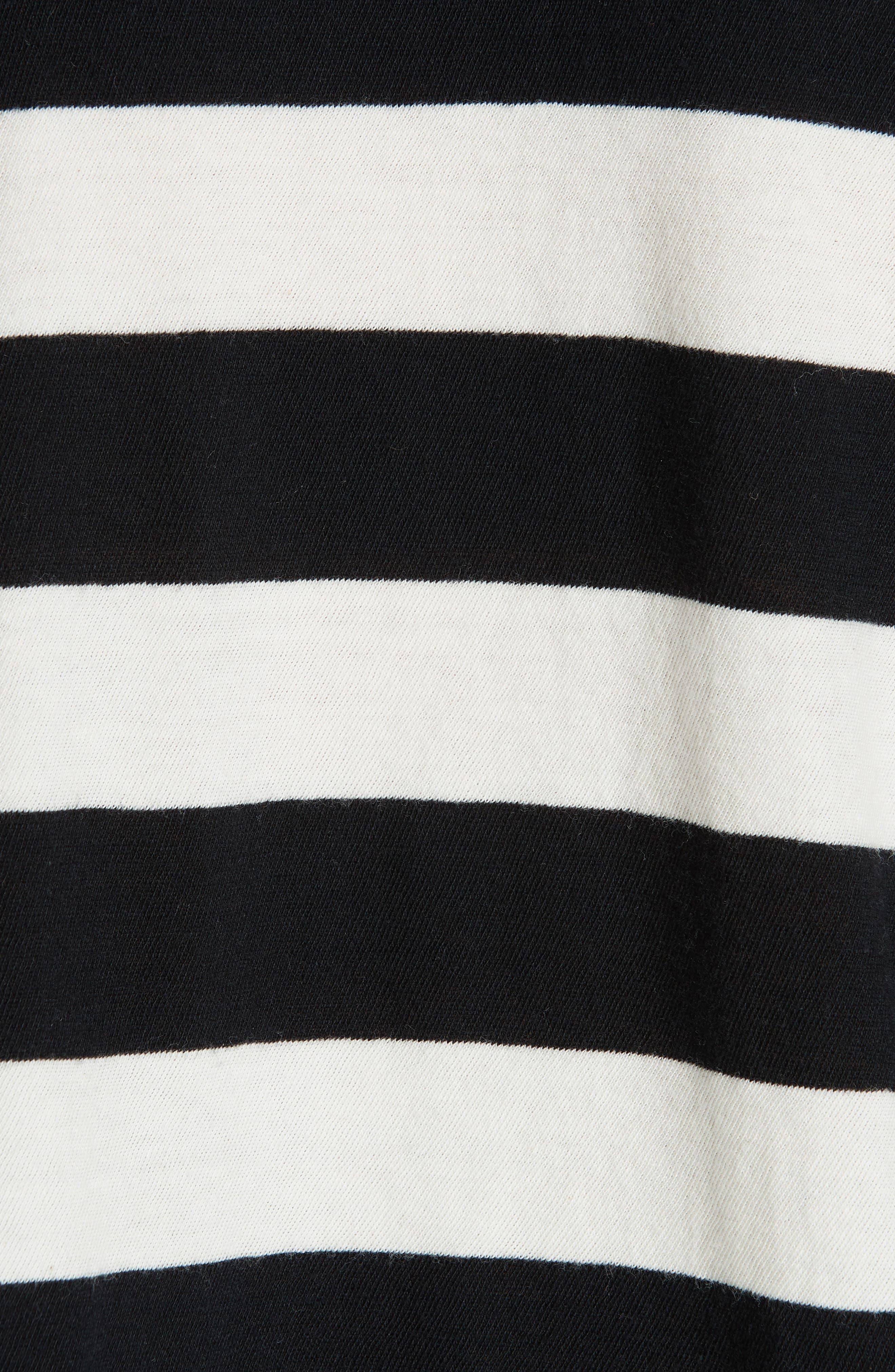 Stripe Crop Tee,                             Alternate thumbnail 5, color,                             BLACK MIXED STRIPE