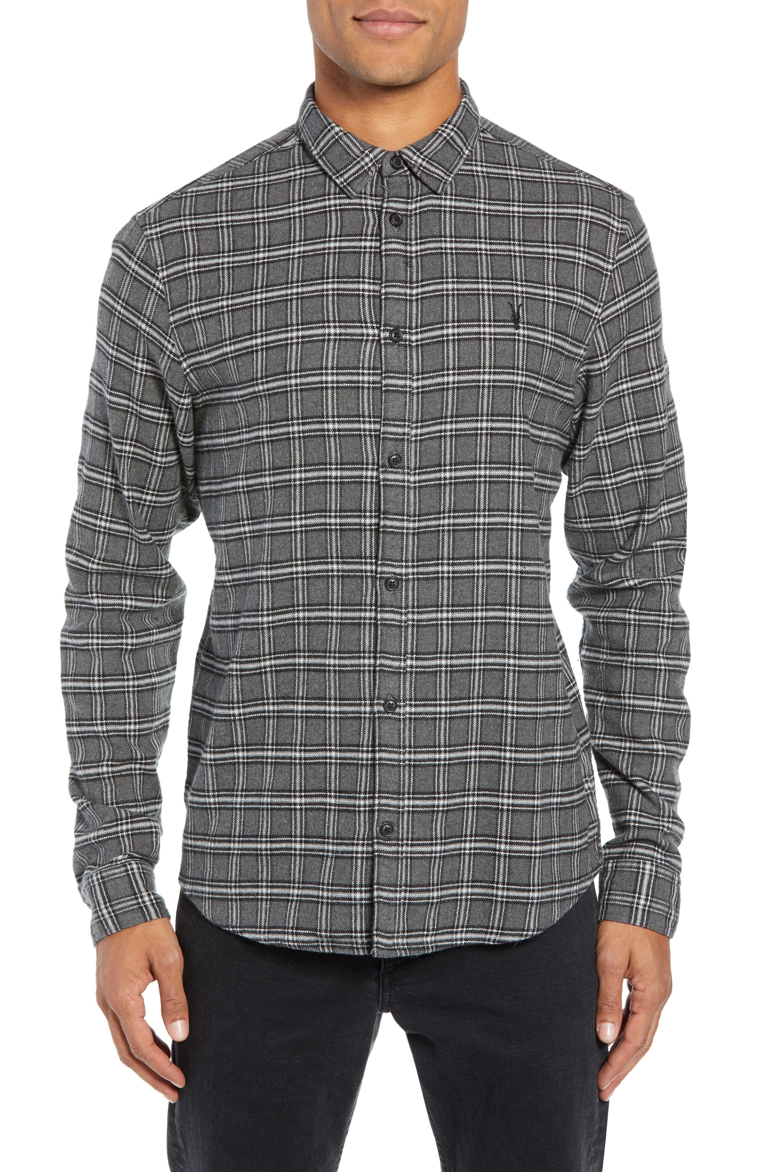 Amos Slim Fit Flannel Shirt,                         Main,                         color, GREY MARL
