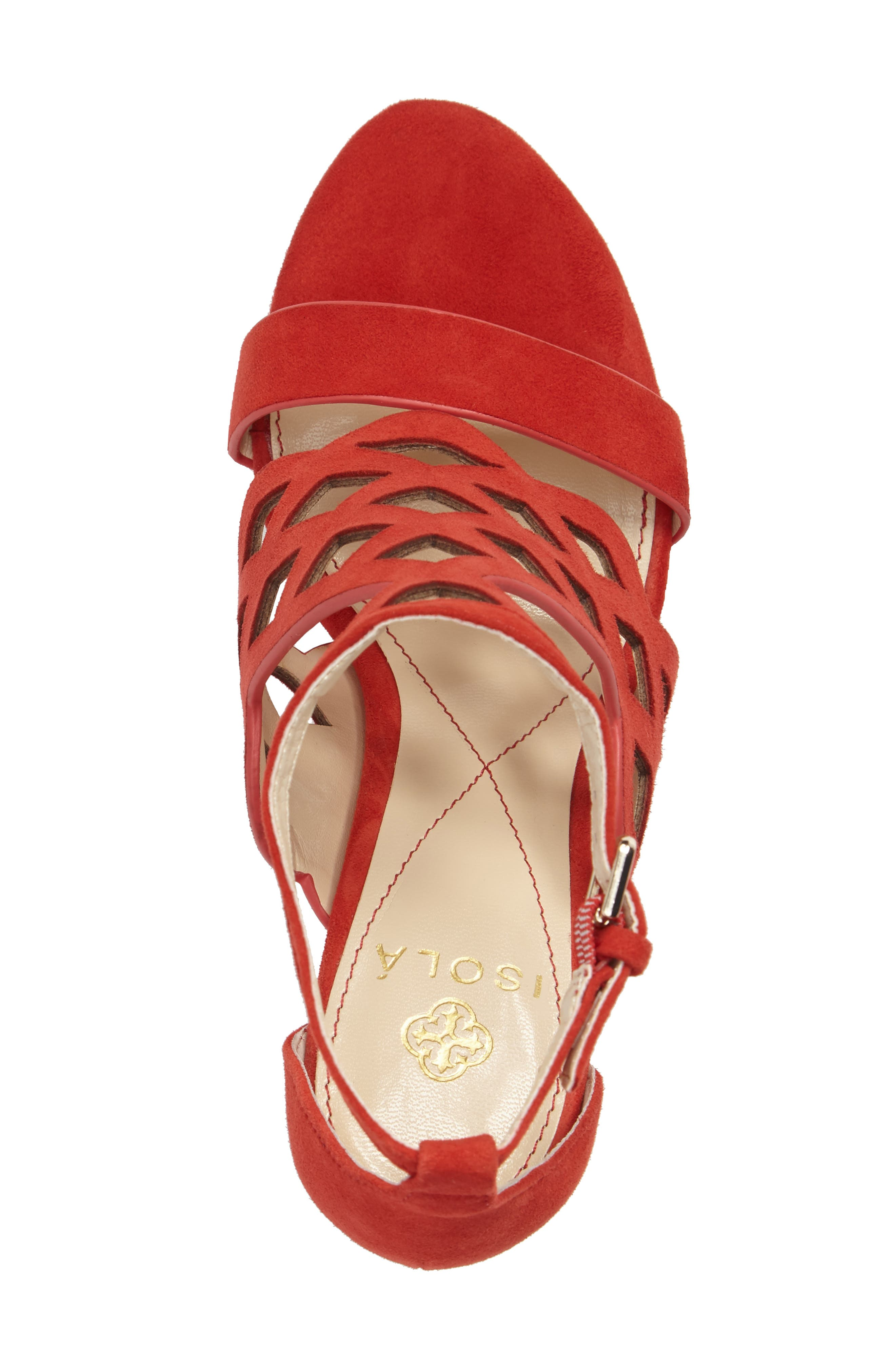 Despina Cutout Ankle Strap Sandal,                             Alternate thumbnail 4, color,                             LIPSTICK RED SUEDE