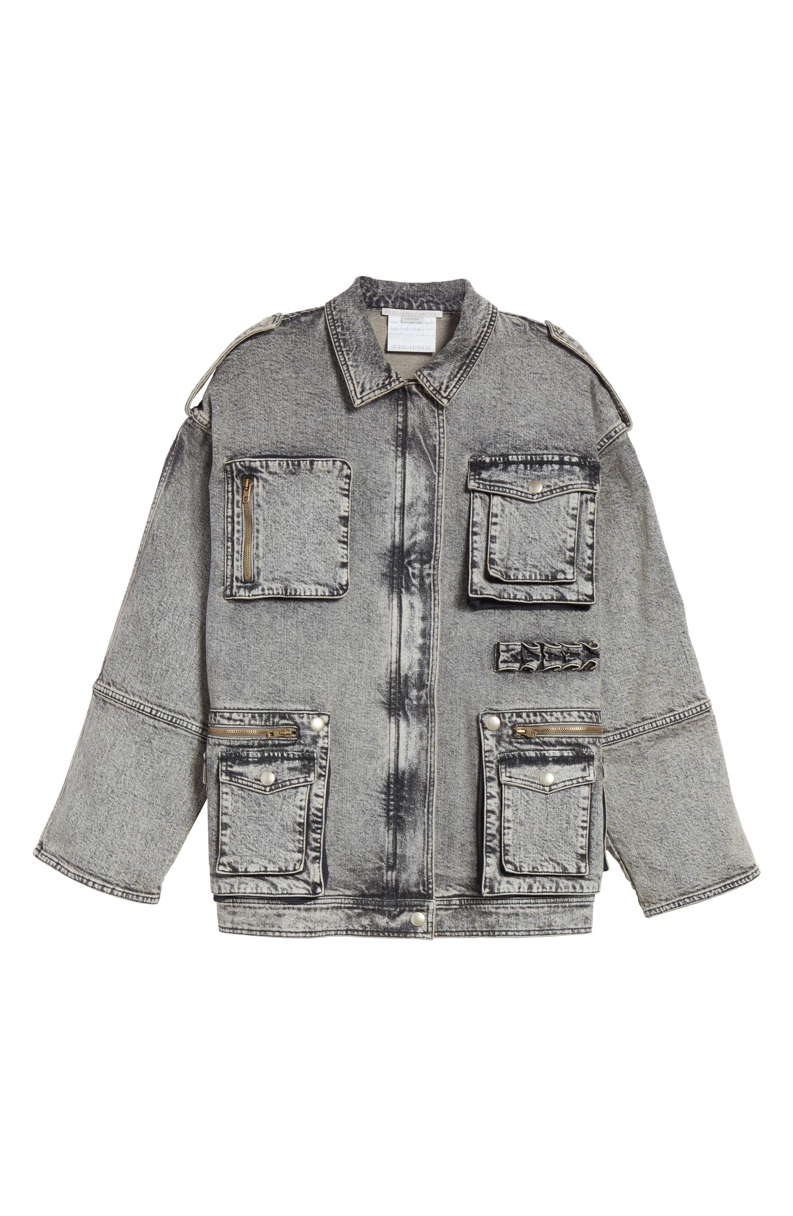 Acid Wash Oversize Denim Jacket,                             Alternate thumbnail 5, color,                             023