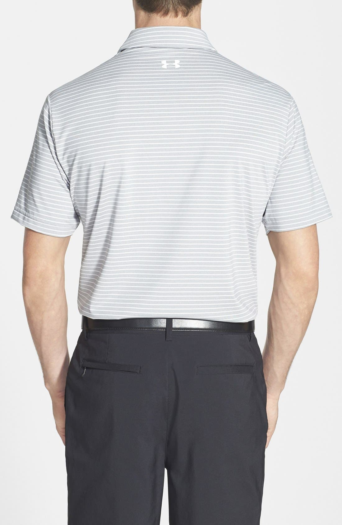 'Playoff' Loose Fit Short Sleeve Polo,                             Alternate thumbnail 8, color,                             TRUE GREY HEATHER/ WHT STRIPE